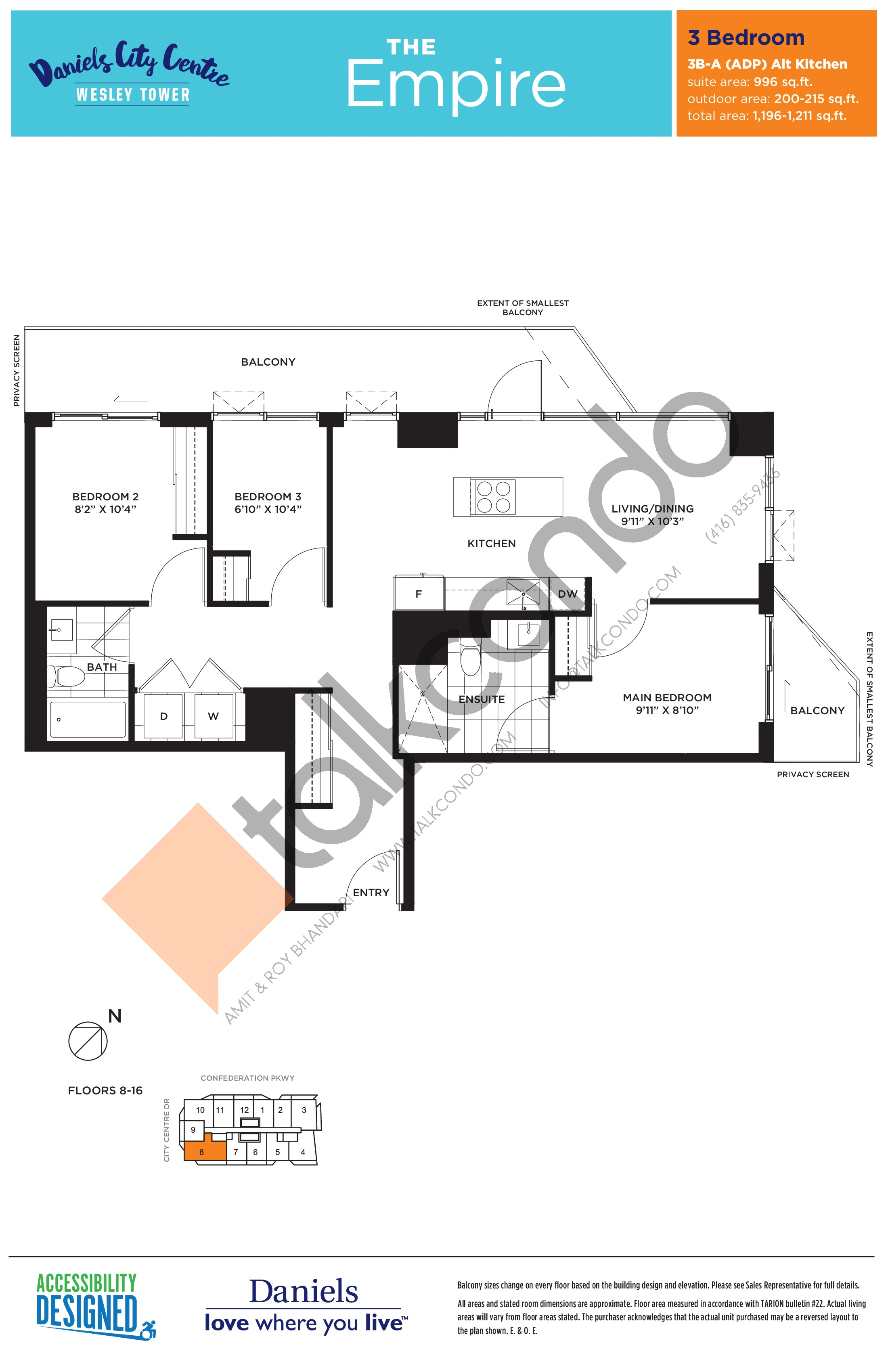 The Empire Floor Plan at The Wesley Tower at Daniels City Centre Condos - 996 sq.ft