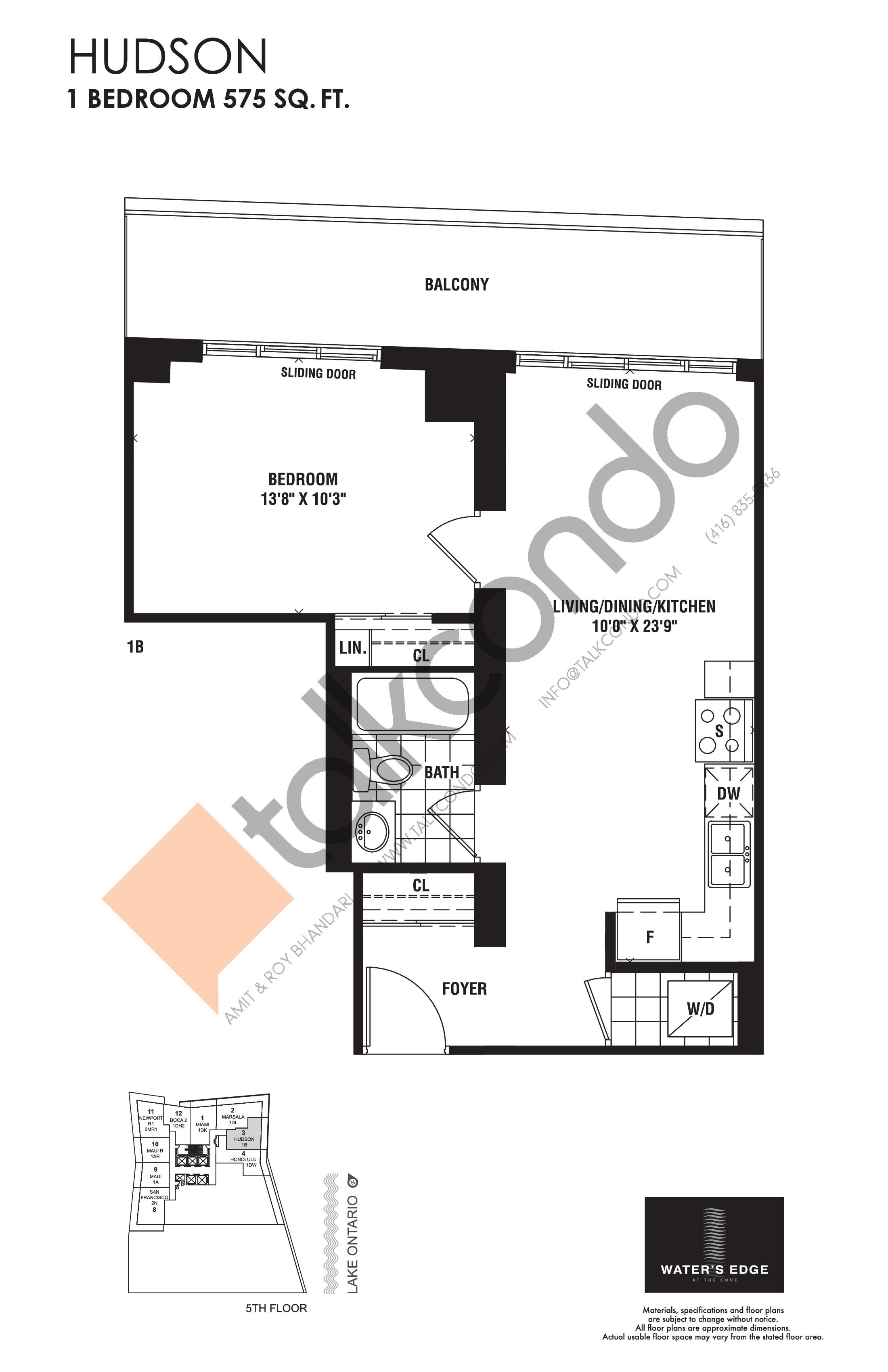 Hudson Floor Plan at Water's Edge at the Cove Condos - 575 sq.ft