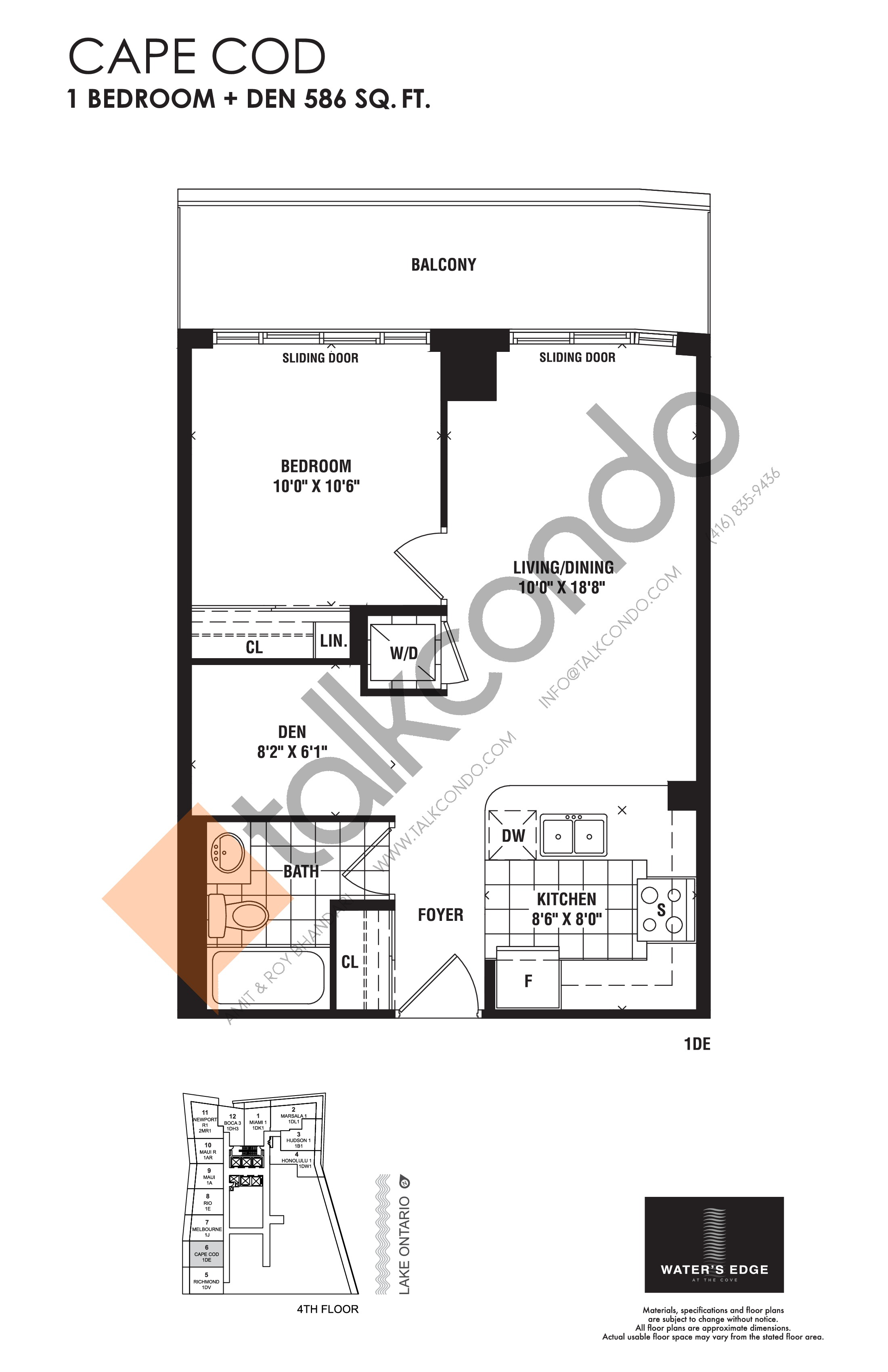 Cape Cod Floor Plan at Water's Edge at the Cove Condos - 586 sq.ft