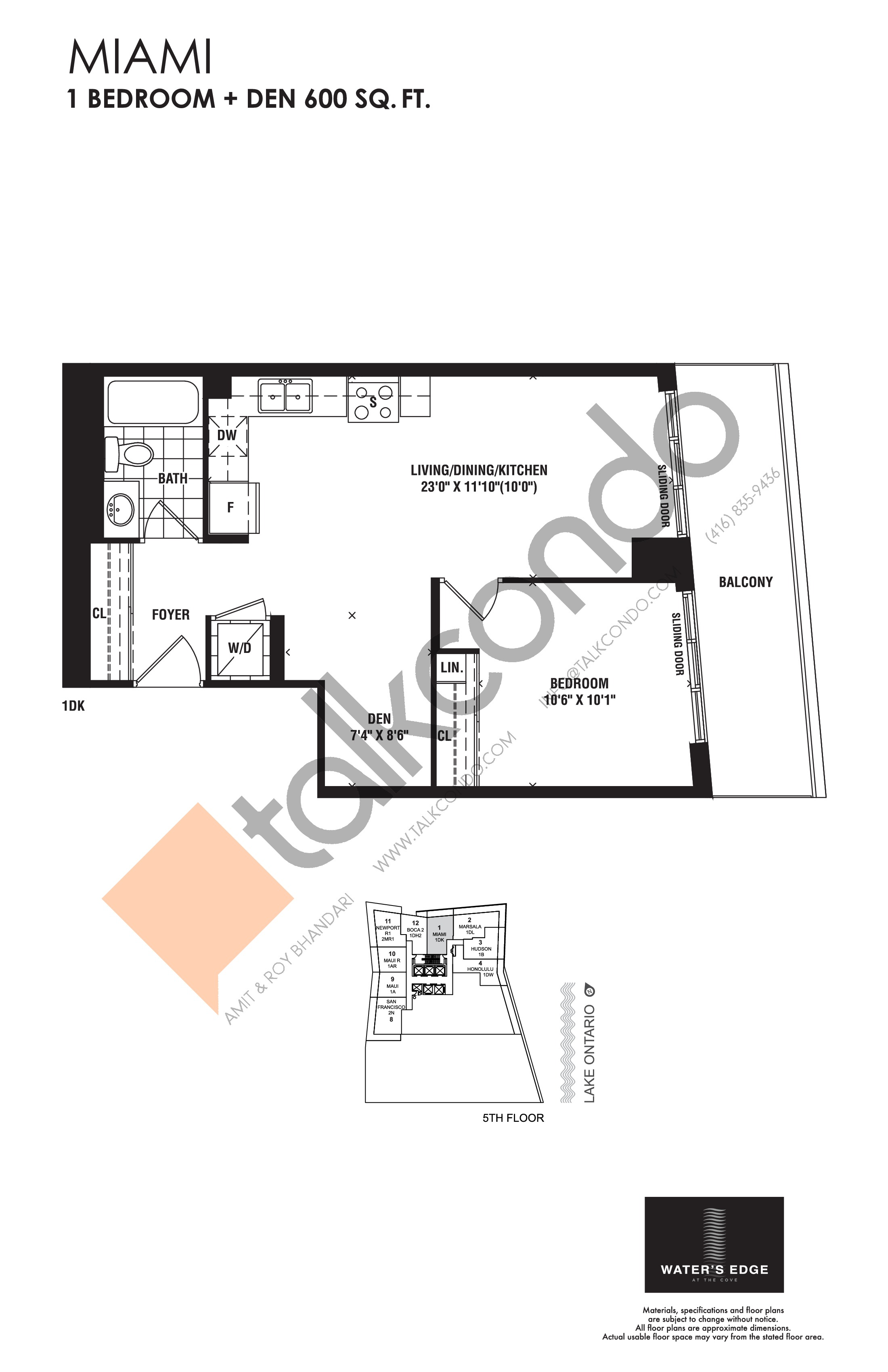 Miami Floor Plan at Water's Edge at the Cove Condos - 600 sq.ft