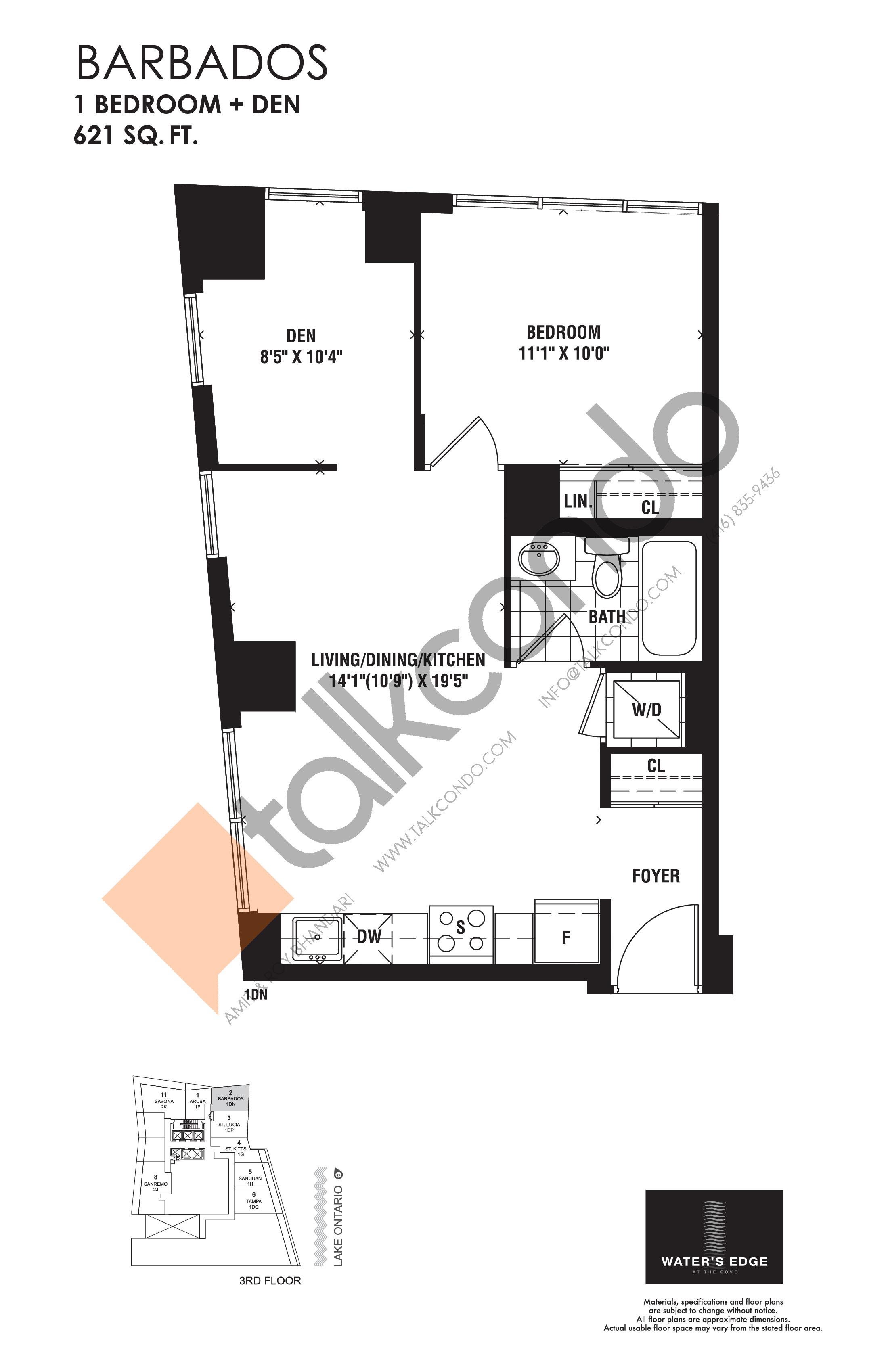 Barbados Floor Plan at Water's Edge at the Cove Condos - 621 sq.ft