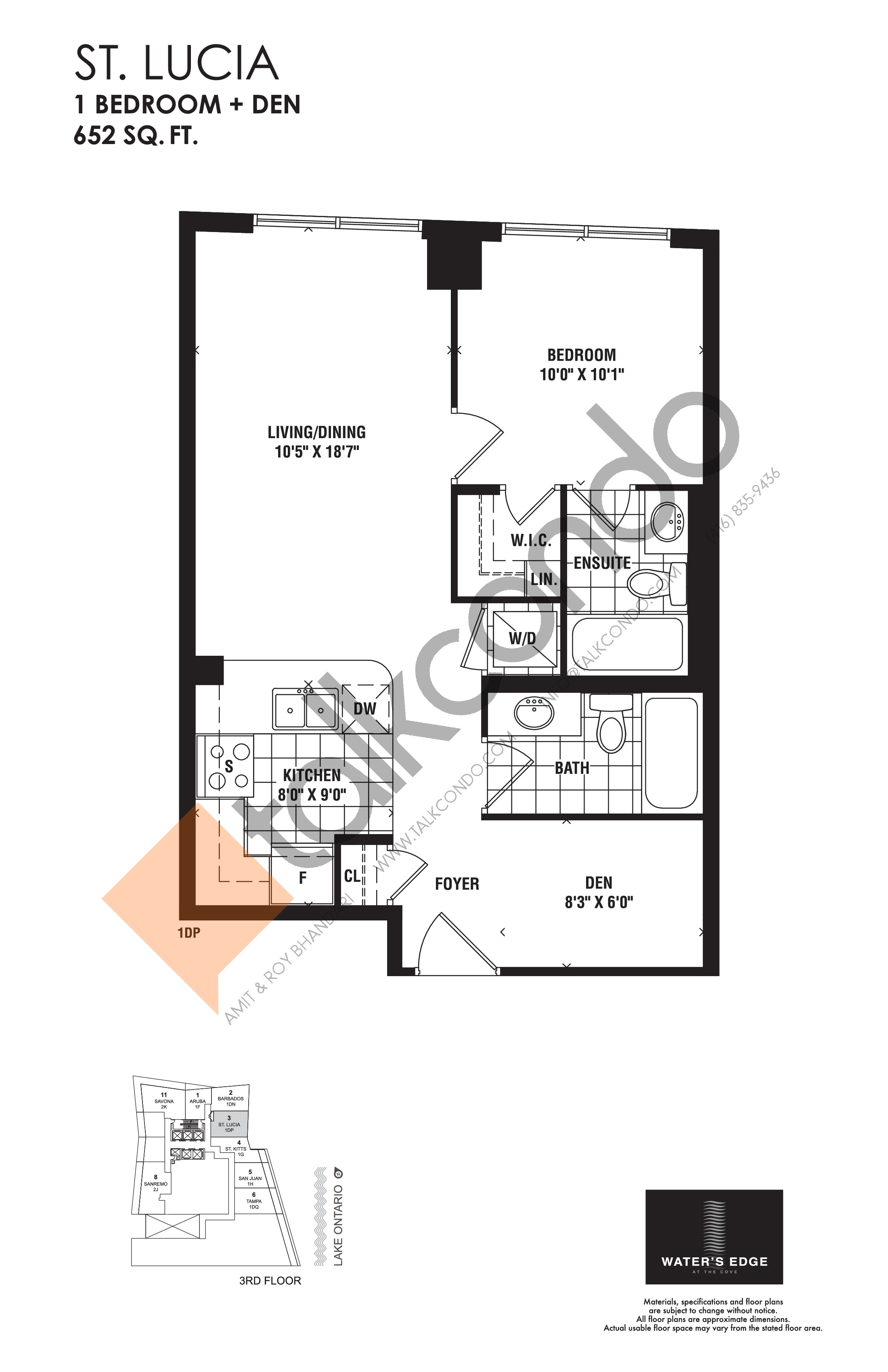 St. Lucia Floor Plan at Water's Edge at the Cove Condos - 652 sq.ft