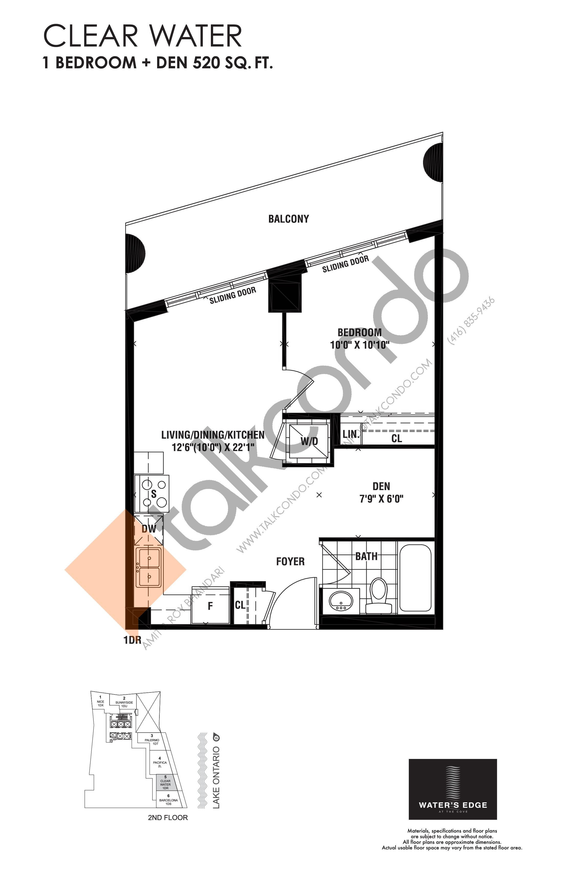Clear Water Floor Plan at Water's Edge at the Cove Condos - 520 sq.ft
