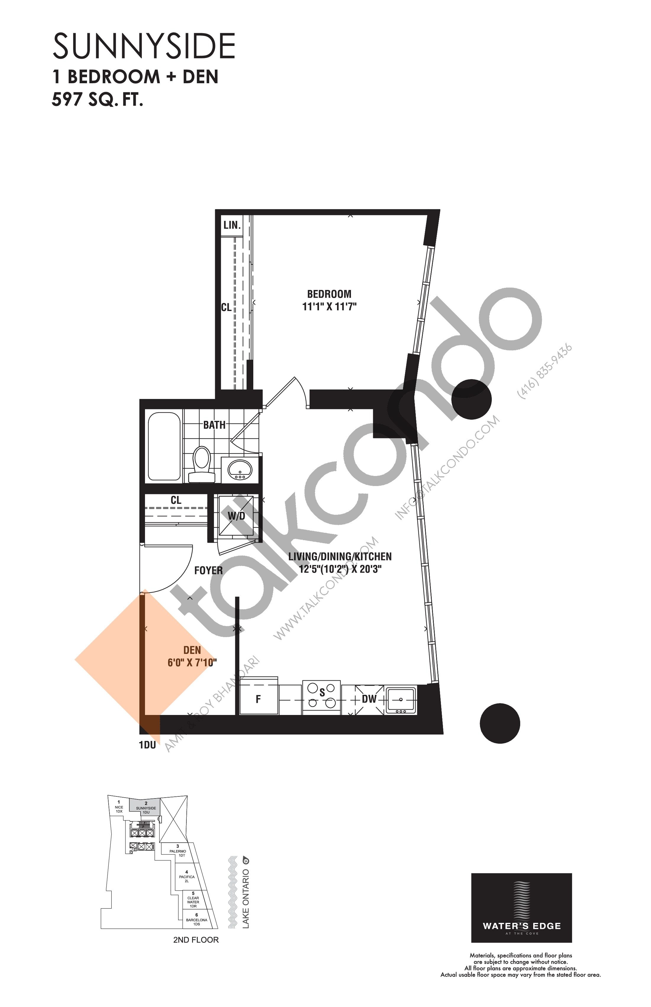 Sunnyside Floor Plan at Water's Edge at the Cove Condos - 597 sq.ft