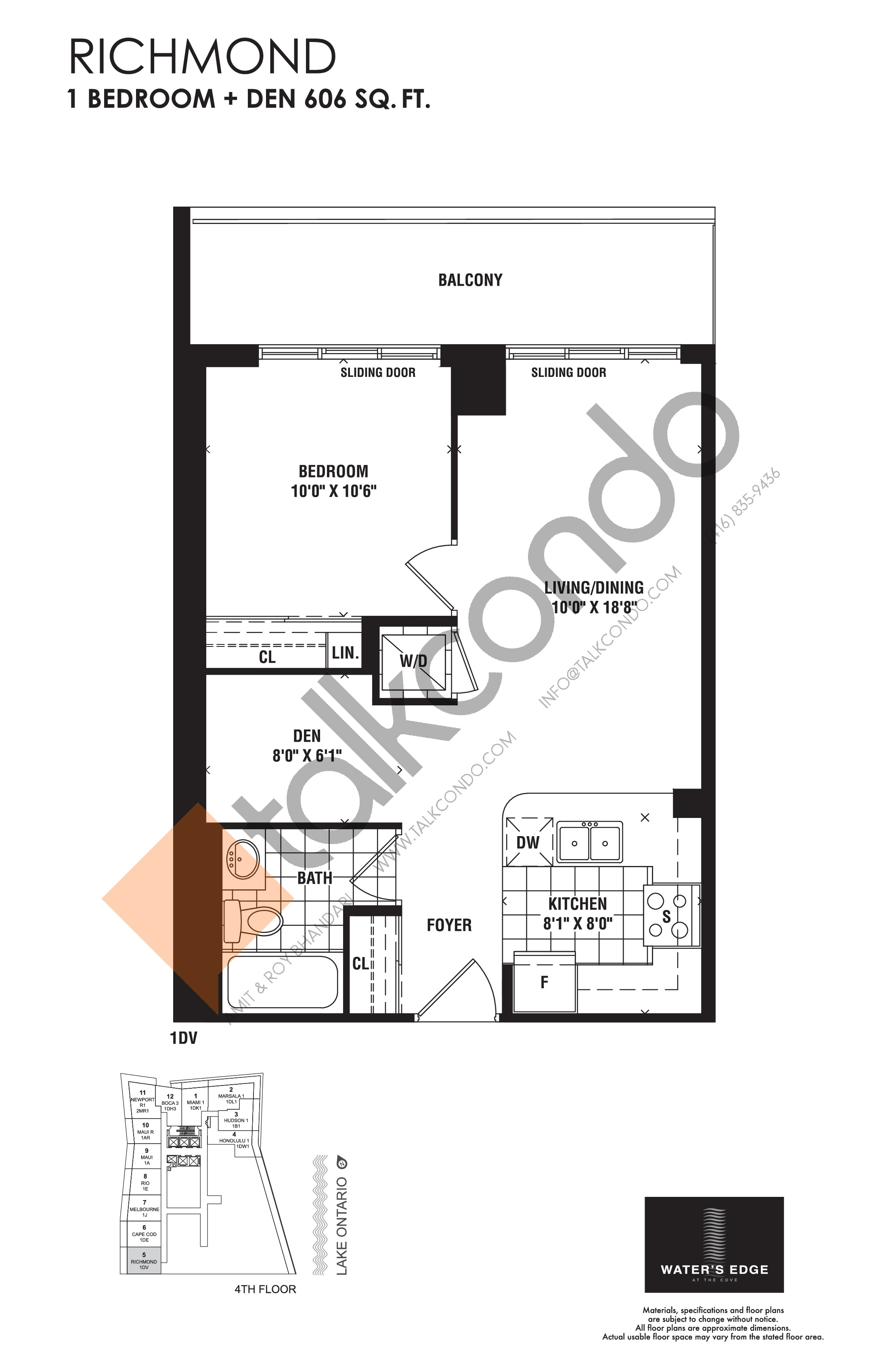 Richmond Floor Plan at Water's Edge at the Cove Condos - 606 sq.ft