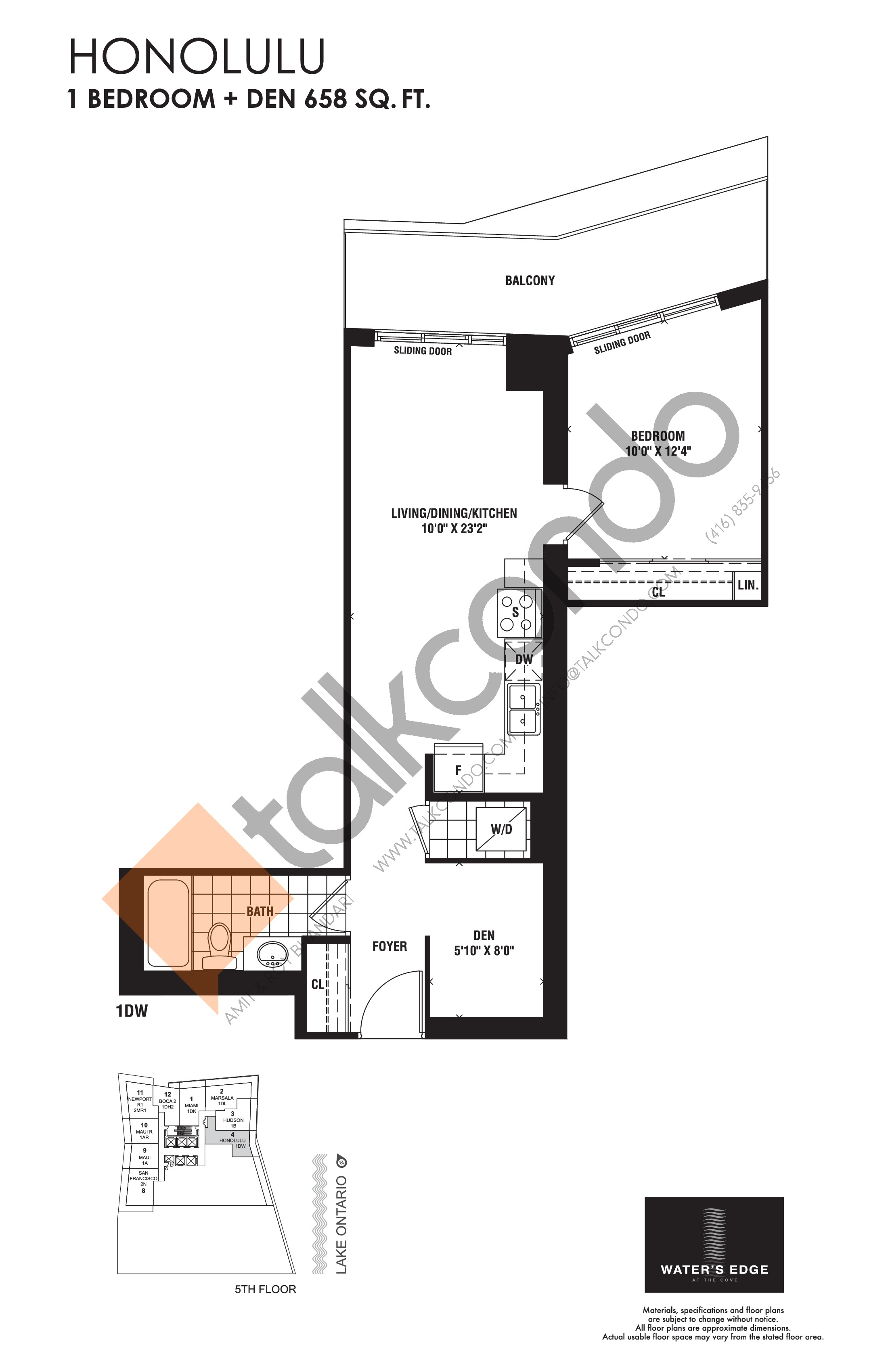 Honolulu Floor Plan at Water's Edge at the Cove Condos - 658 sq.ft