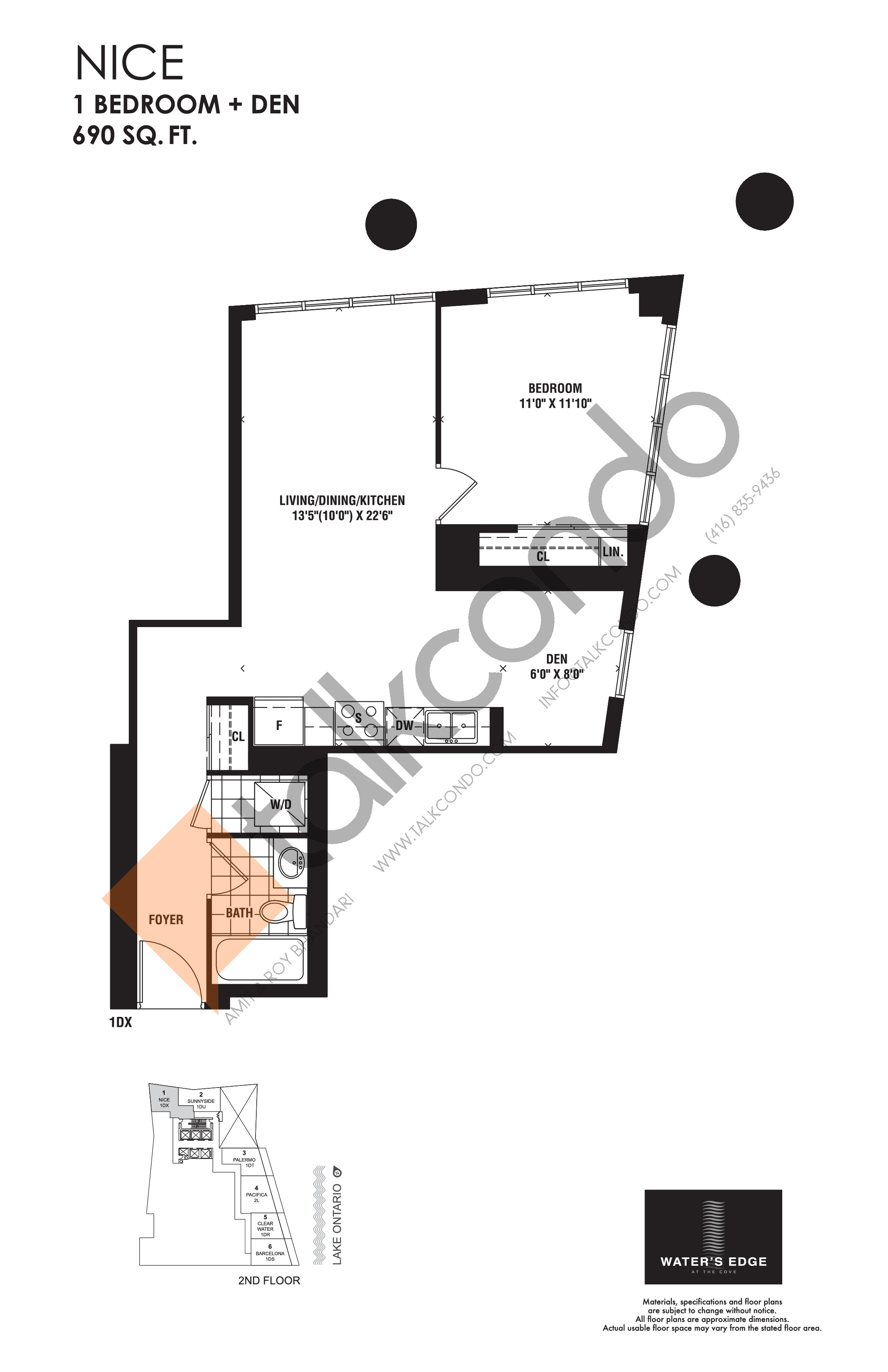Nice Floor Plan at Water's Edge at the Cove Condos - 690 sq.ft