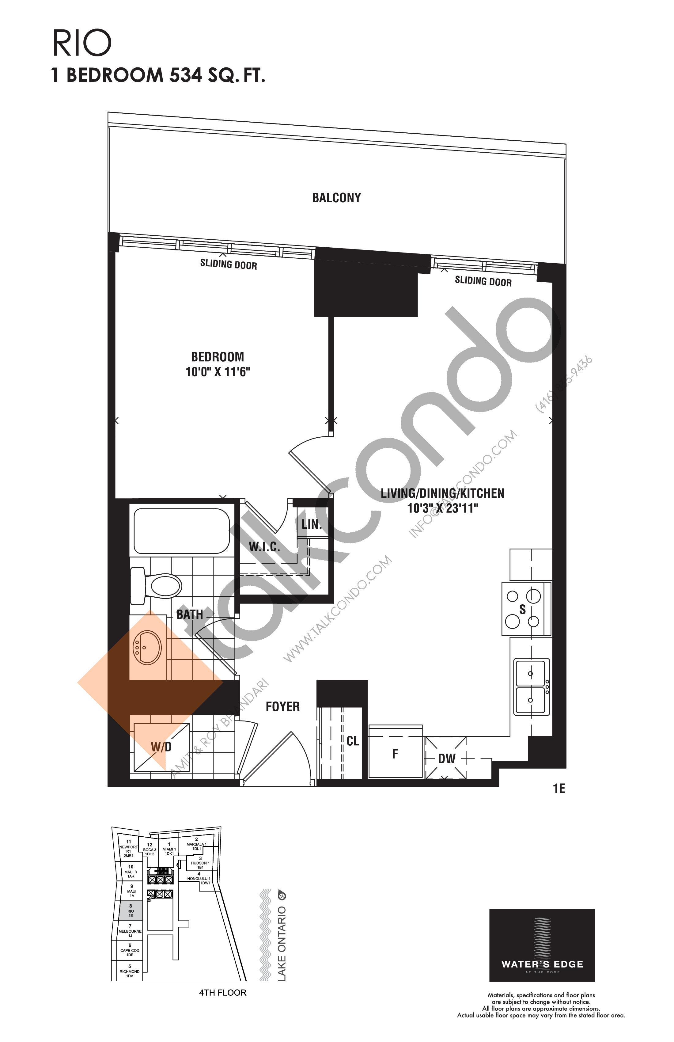Rio Floor Plan at Water's Edge at the Cove Condos - 534 sq.ft