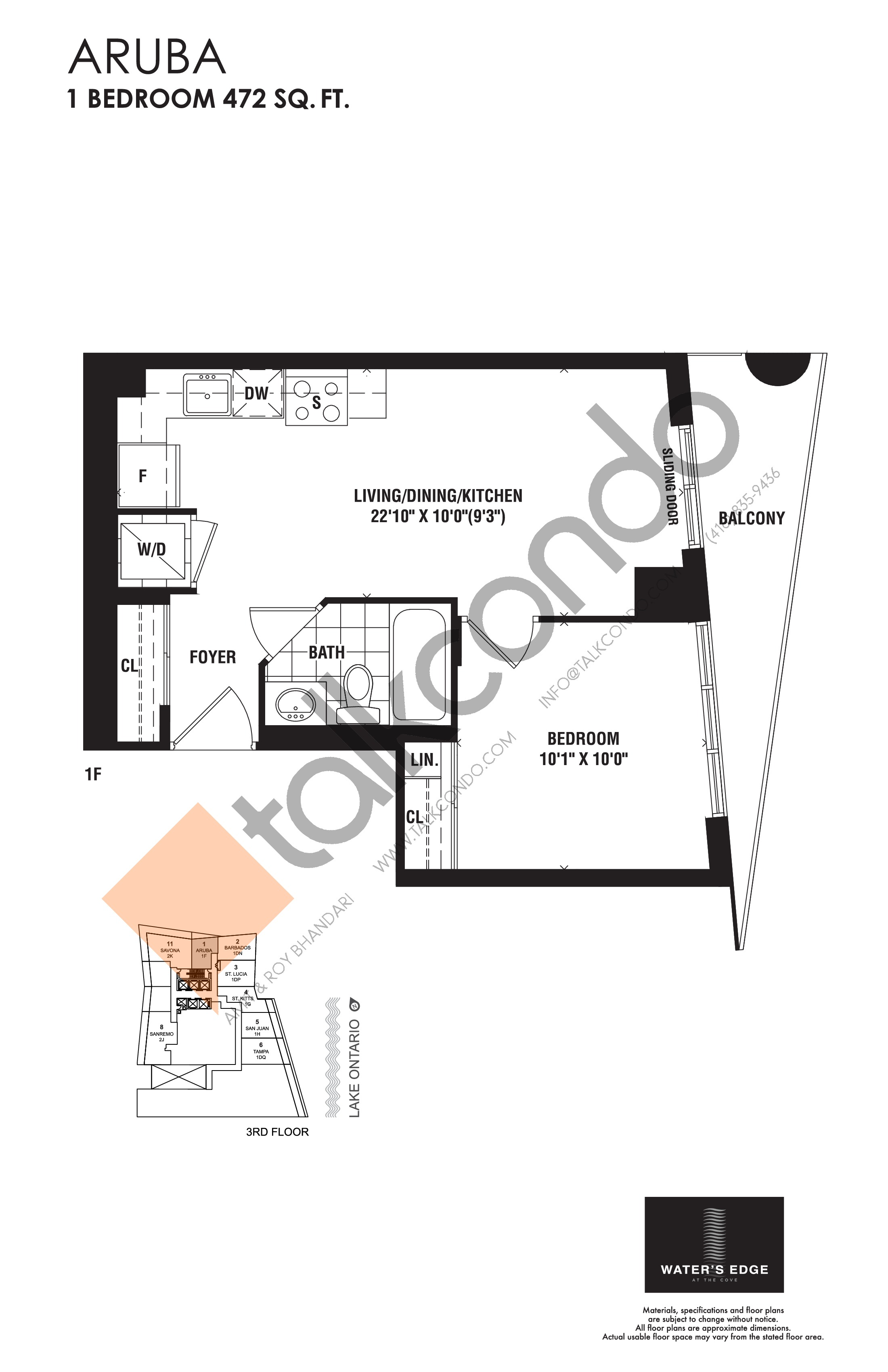 Aruba Floor Plan at Water's Edge at the Cove Condos - 472 sq.ft