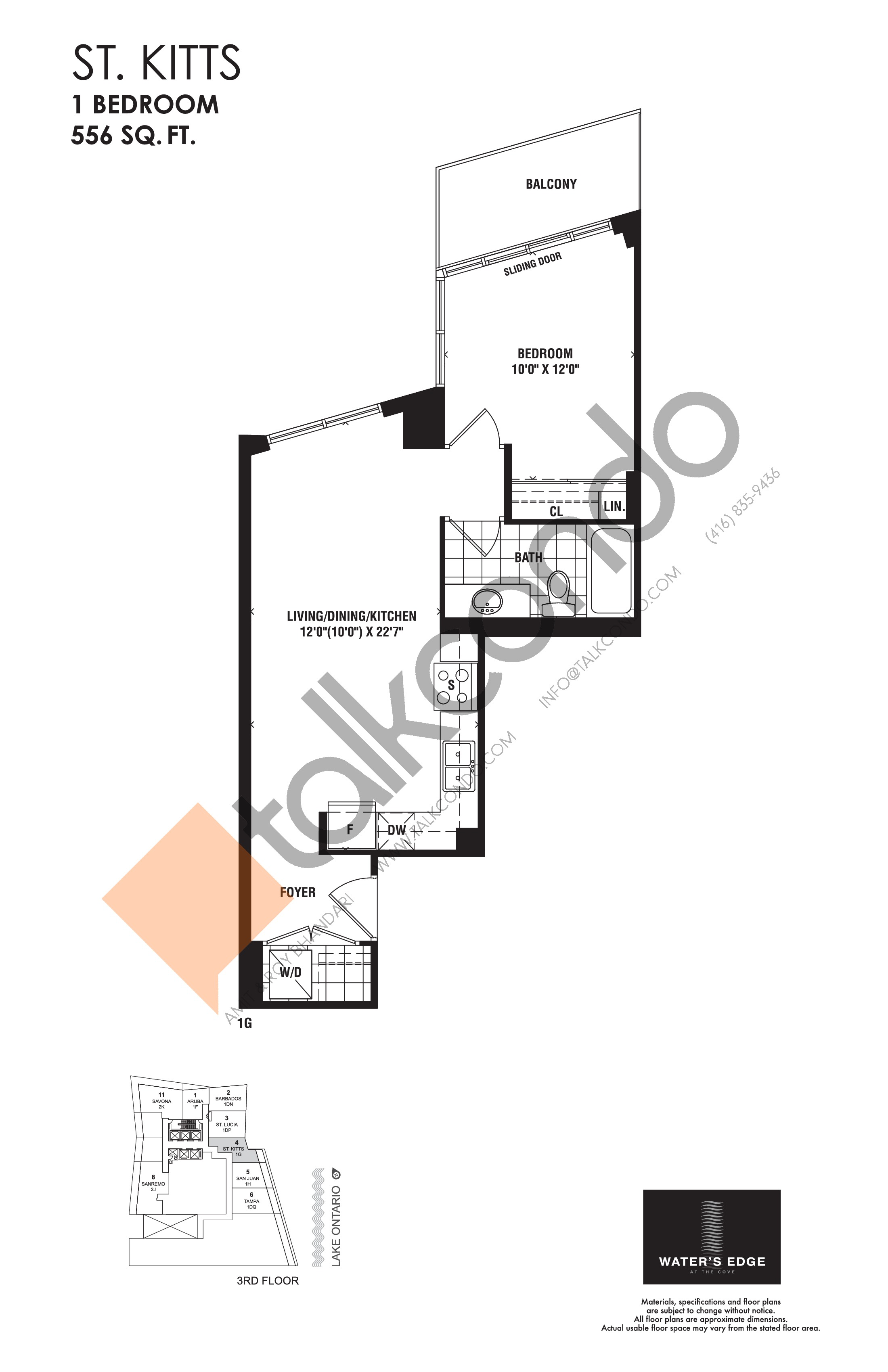 St. Kitts Floor Plan at Water's Edge at the Cove Condos - 556 sq.ft