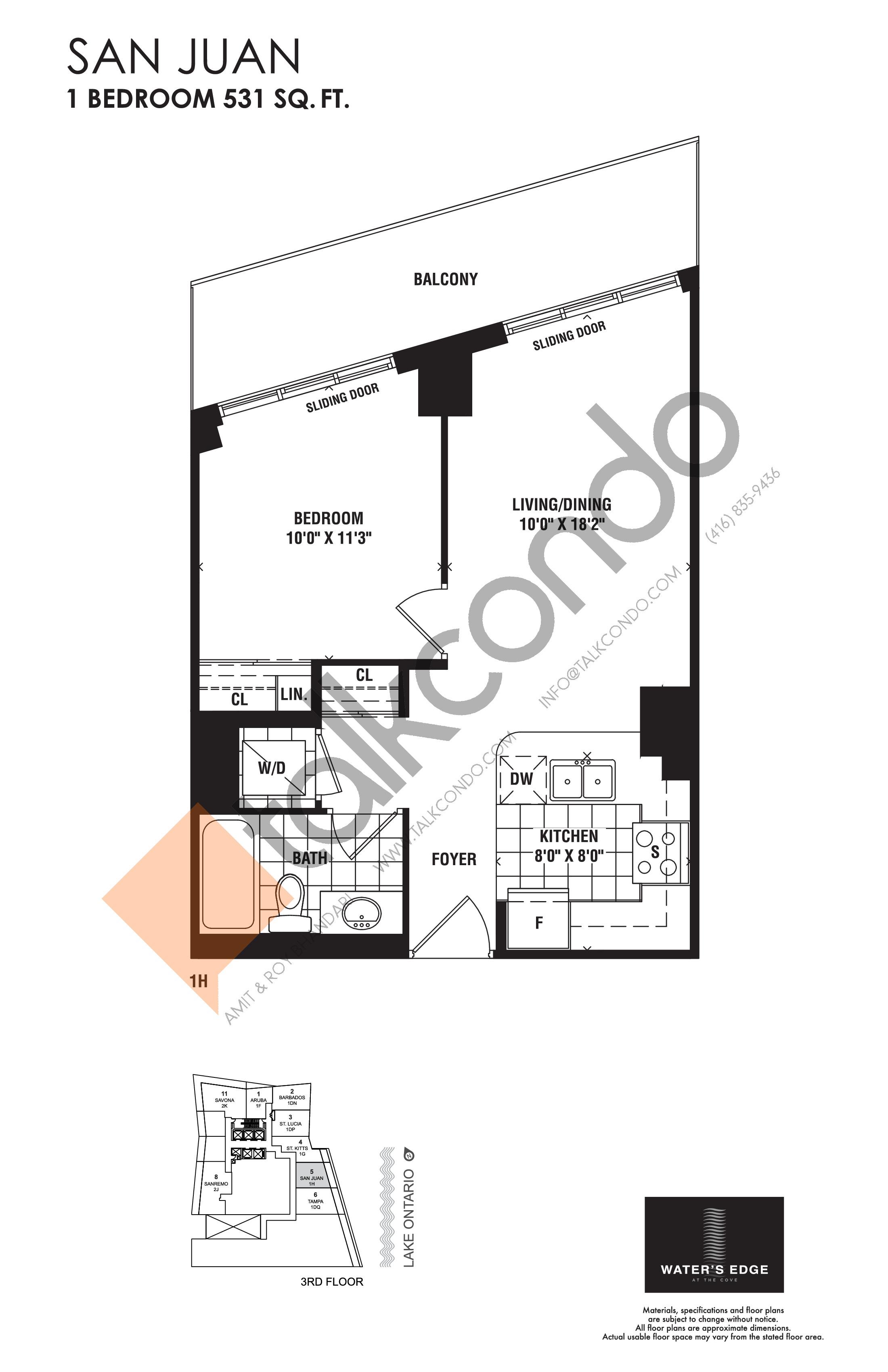 San Juan Floor Plan at Water's Edge at the Cove Condos - 531 sq.ft