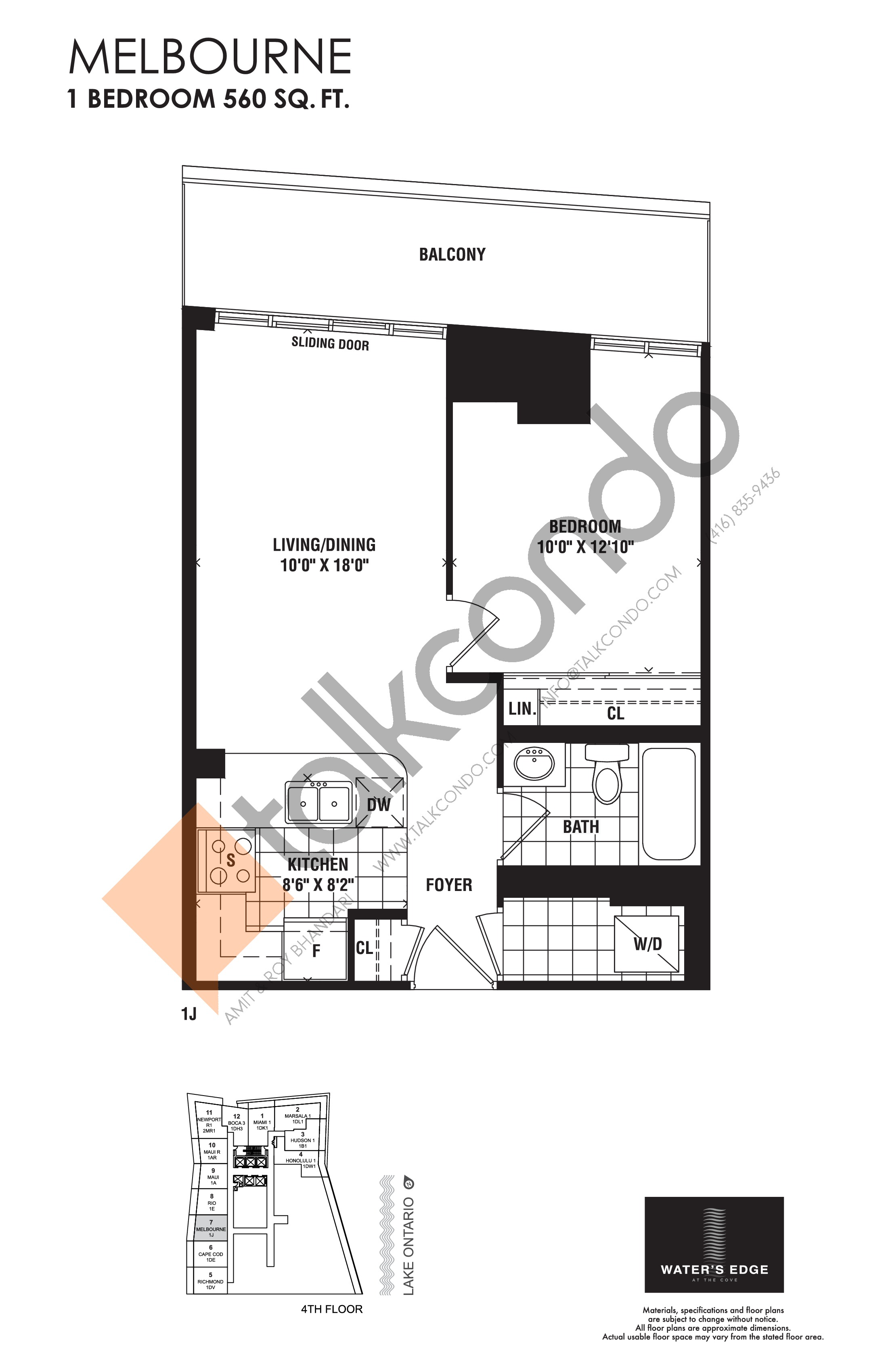 Melbourne Floor Plan at Water's Edge at the Cove Condos - 560 sq.ft