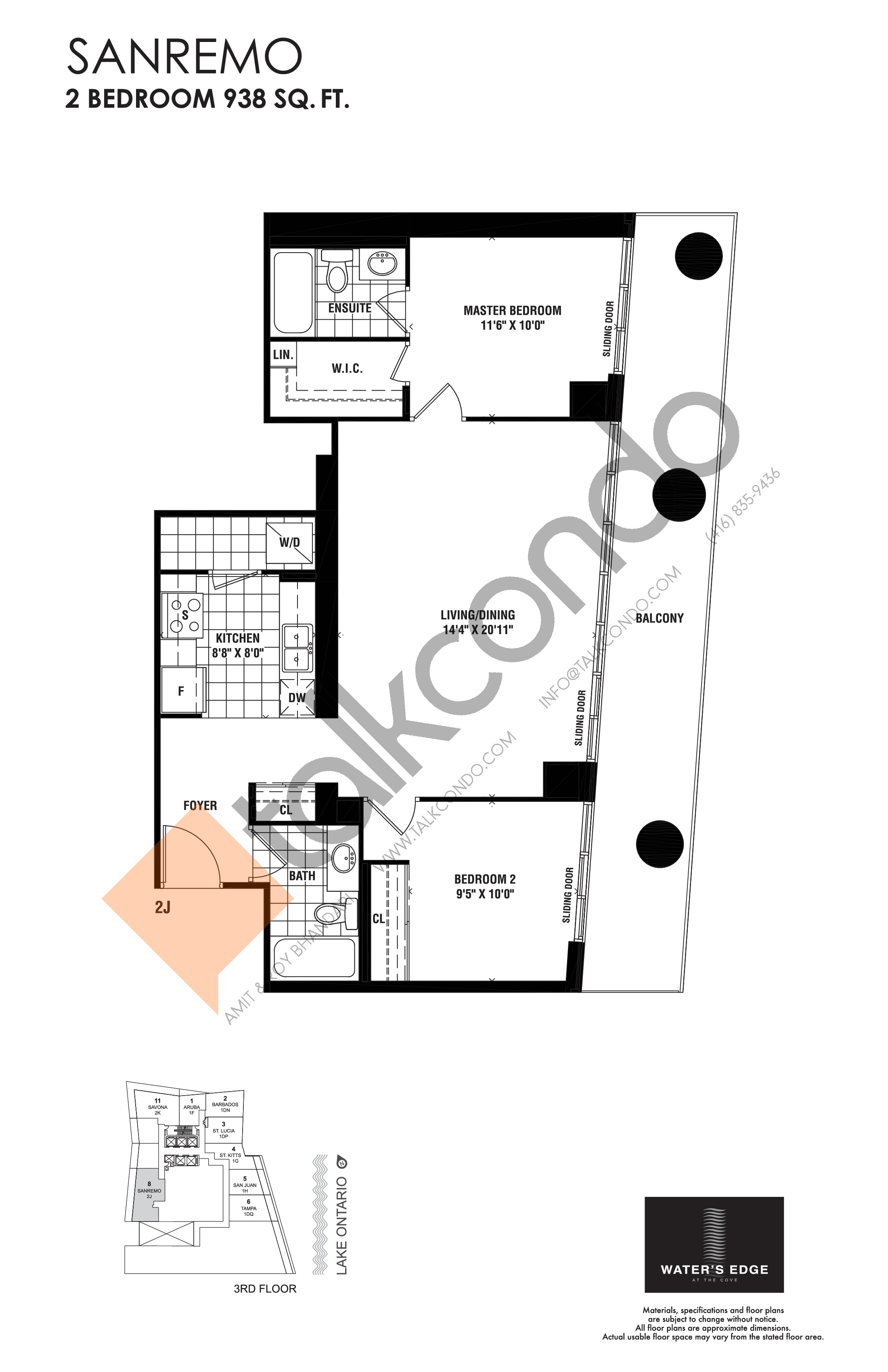 Sanremo Floor Plan at Water's Edge at the Cove Condos - 938 sq.ft