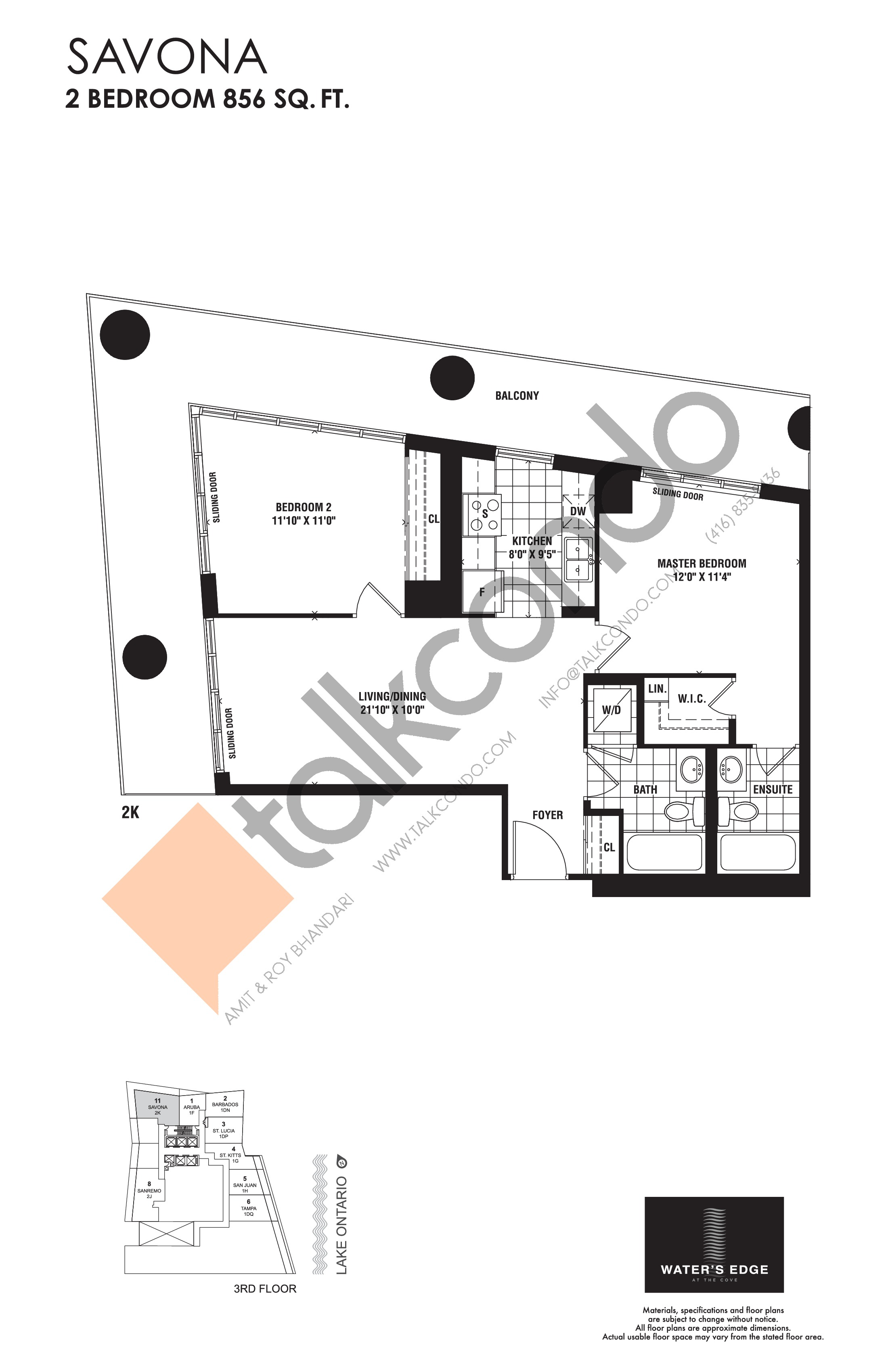 Savona Floor Plan at Water's Edge at the Cove Condos - 856 sq.ft