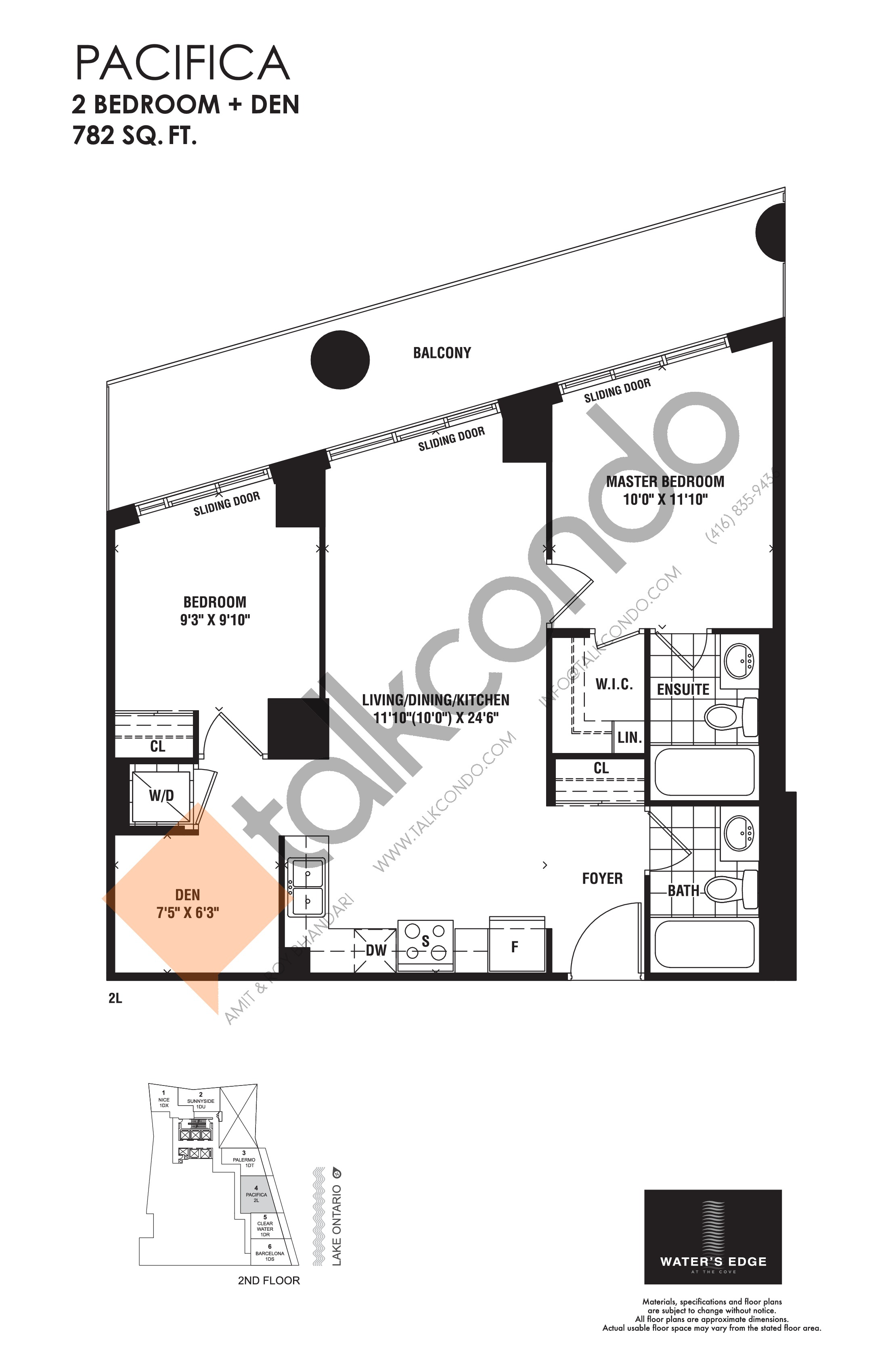 Pacifica Floor Plan at Water's Edge at the Cove Condos - 782 sq.ft
