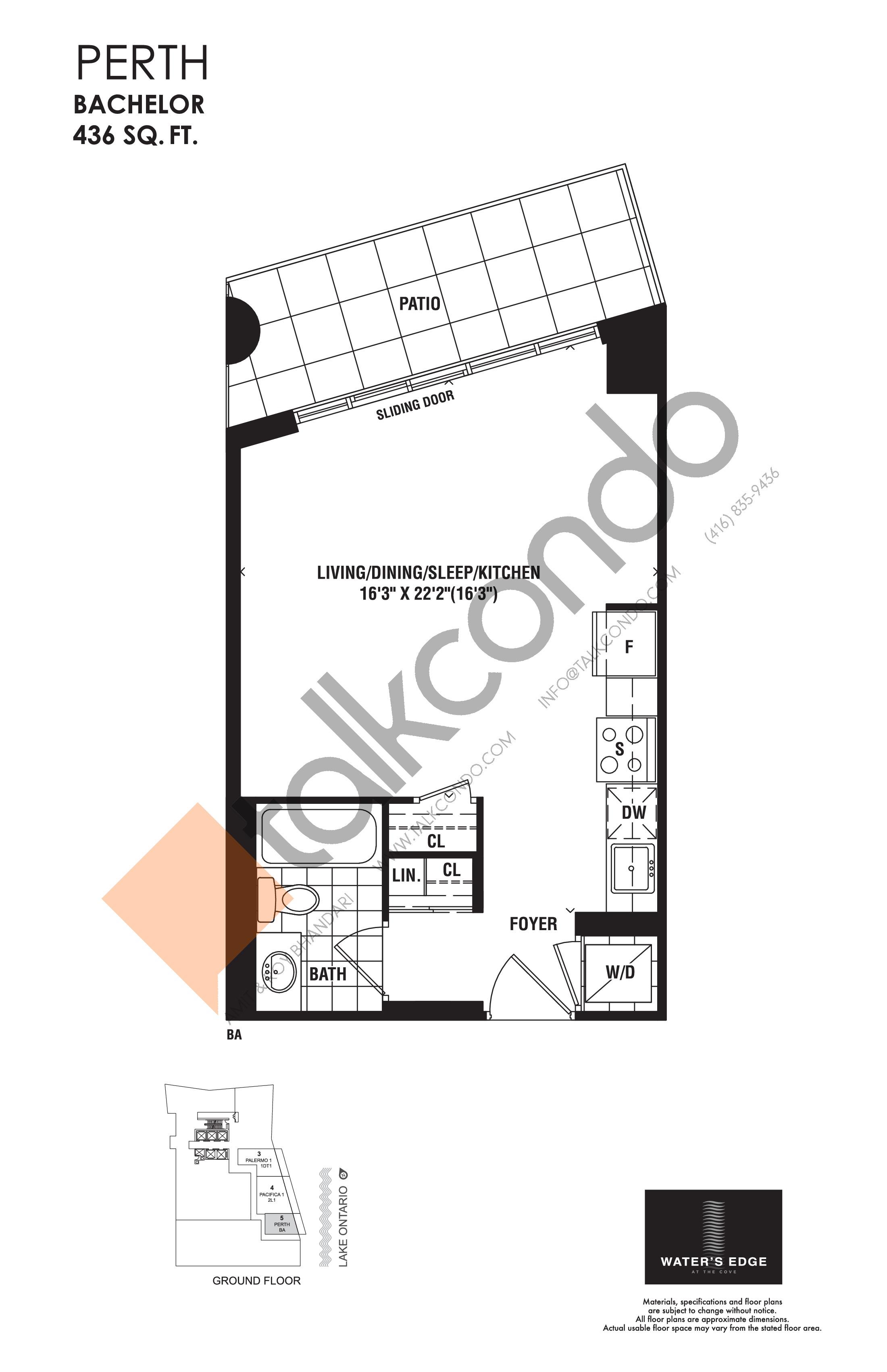 Perth Floor Plan at Water's Edge at the Cove Condos - 436 sq.ft