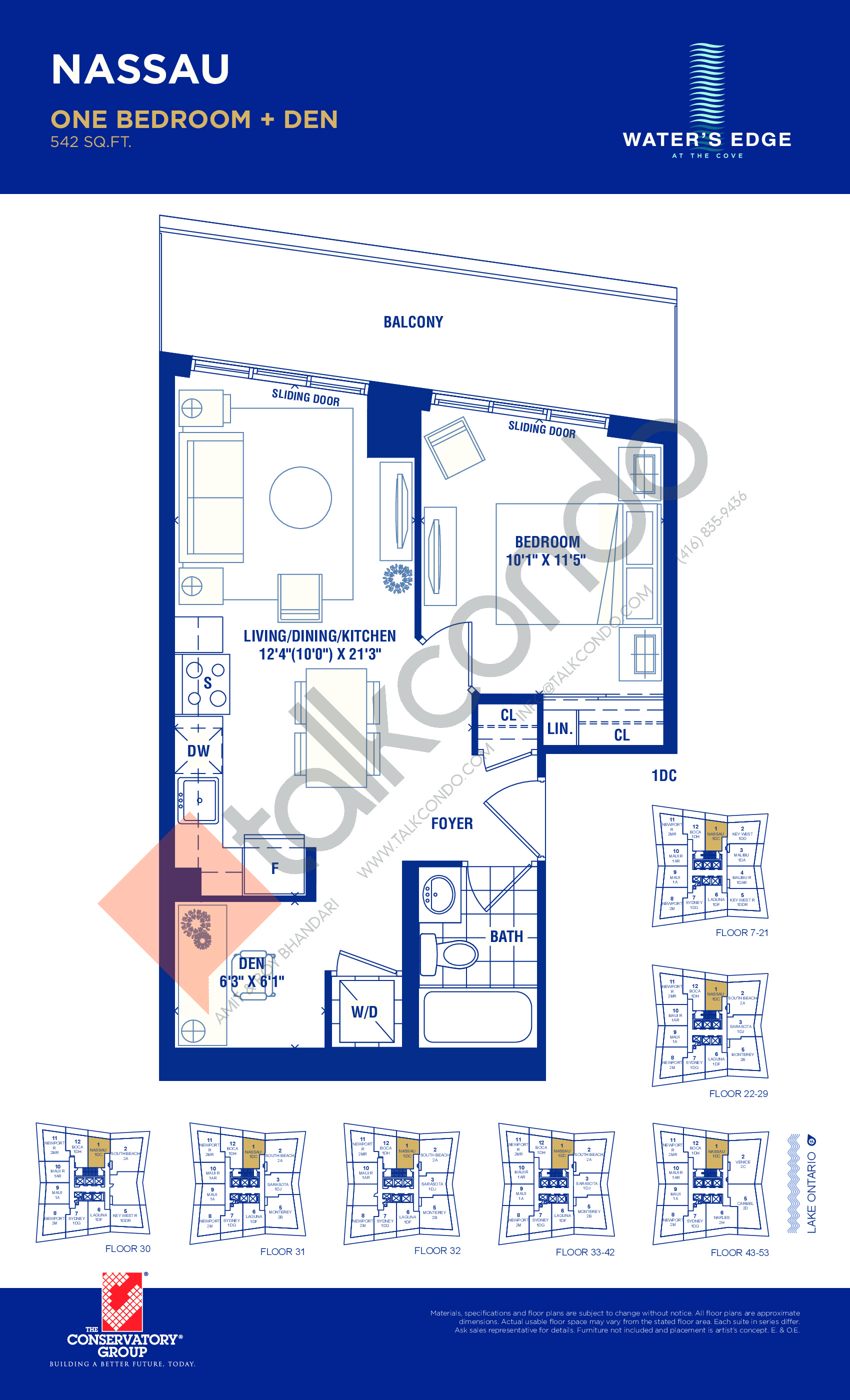 Nassau Floor Plan at Water's Edge at the Cove Condos - 542 sq.ft
