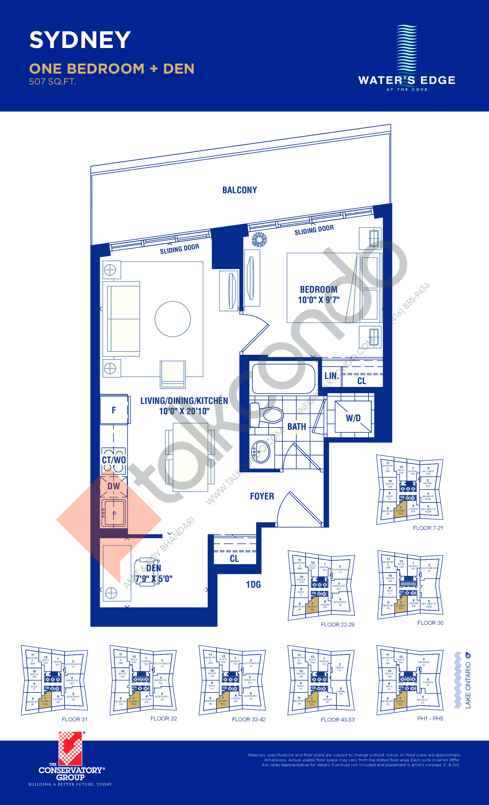 Sydney Floor Plan at Water's Edge at the Cove Condos - 507 sq.ft