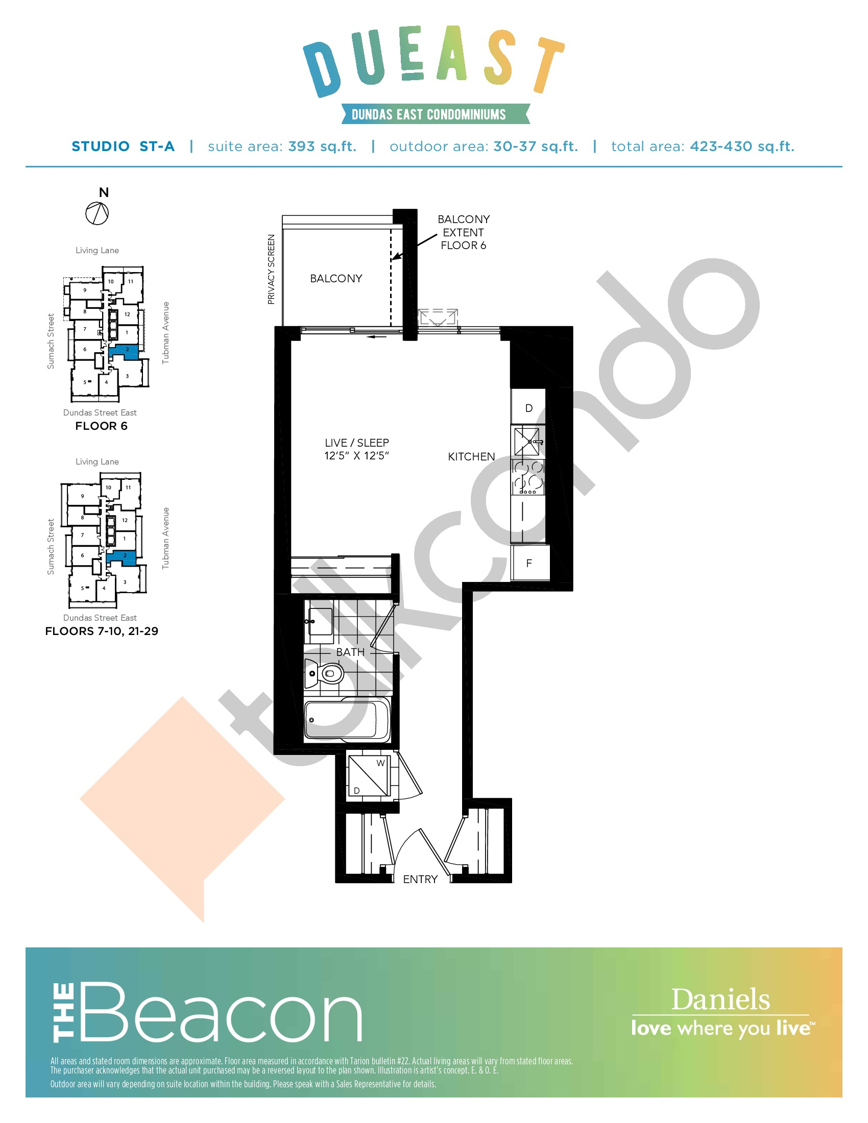 The Beacon (ST-A) Floor Plan at DuEast Condos - 393 sq.ft