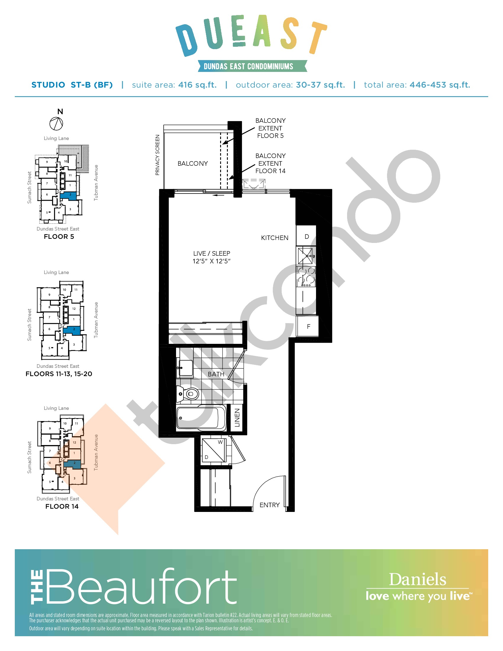 The Beaufort ST-B (BF) Floor Plan at DuEast Condos - 416 sq.ft