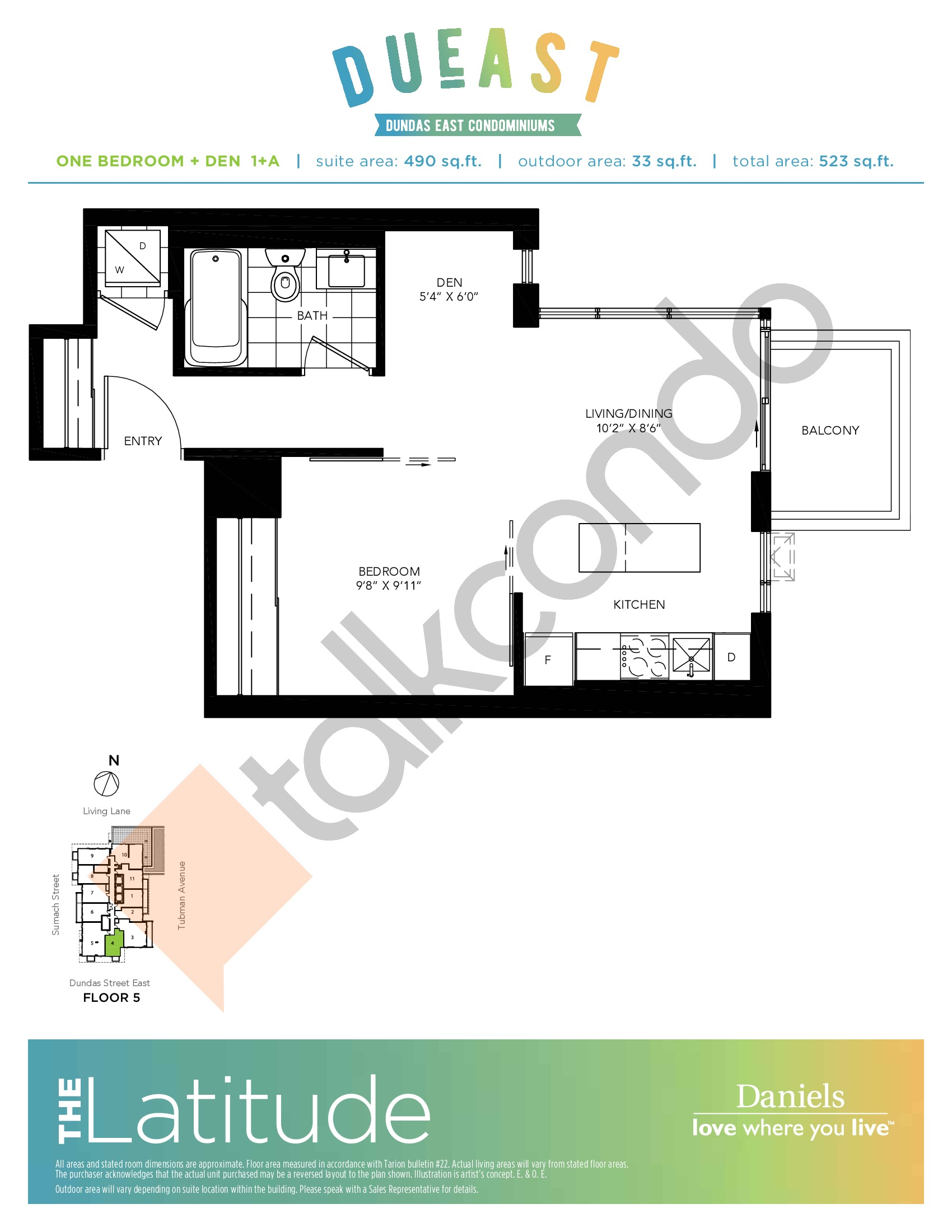 The Latitude (1+A) Floor Plan at DuEast Condos - 490 sq.ft