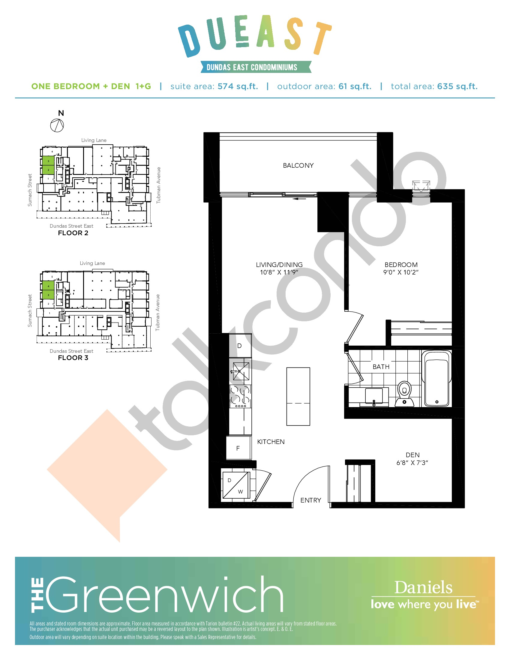 The Greenwich (1+G) Floor Plan at DuEast Condos - 574 sq.ft