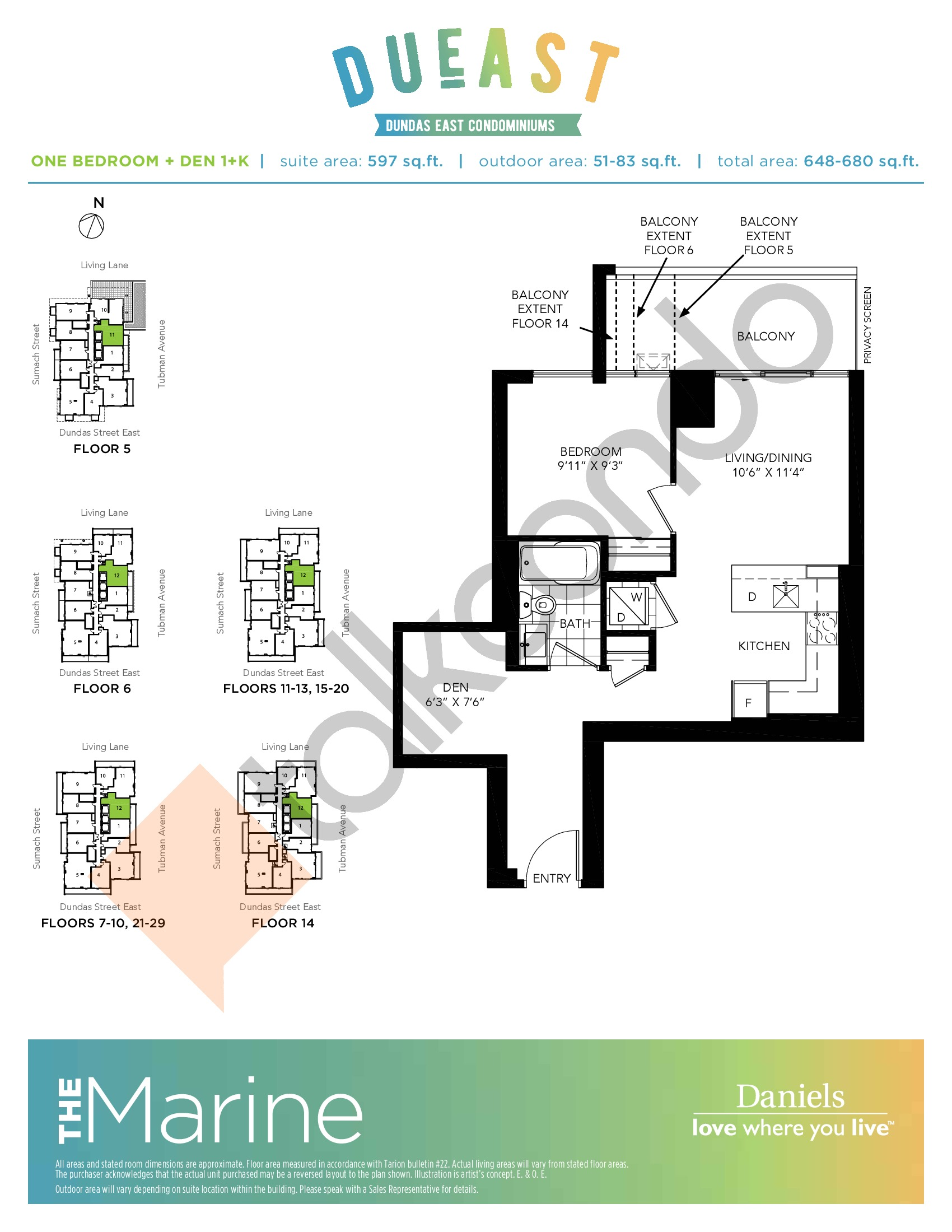 The Marine (1+K) Floor Plan at DuEast Condos - 597 sq.ft
