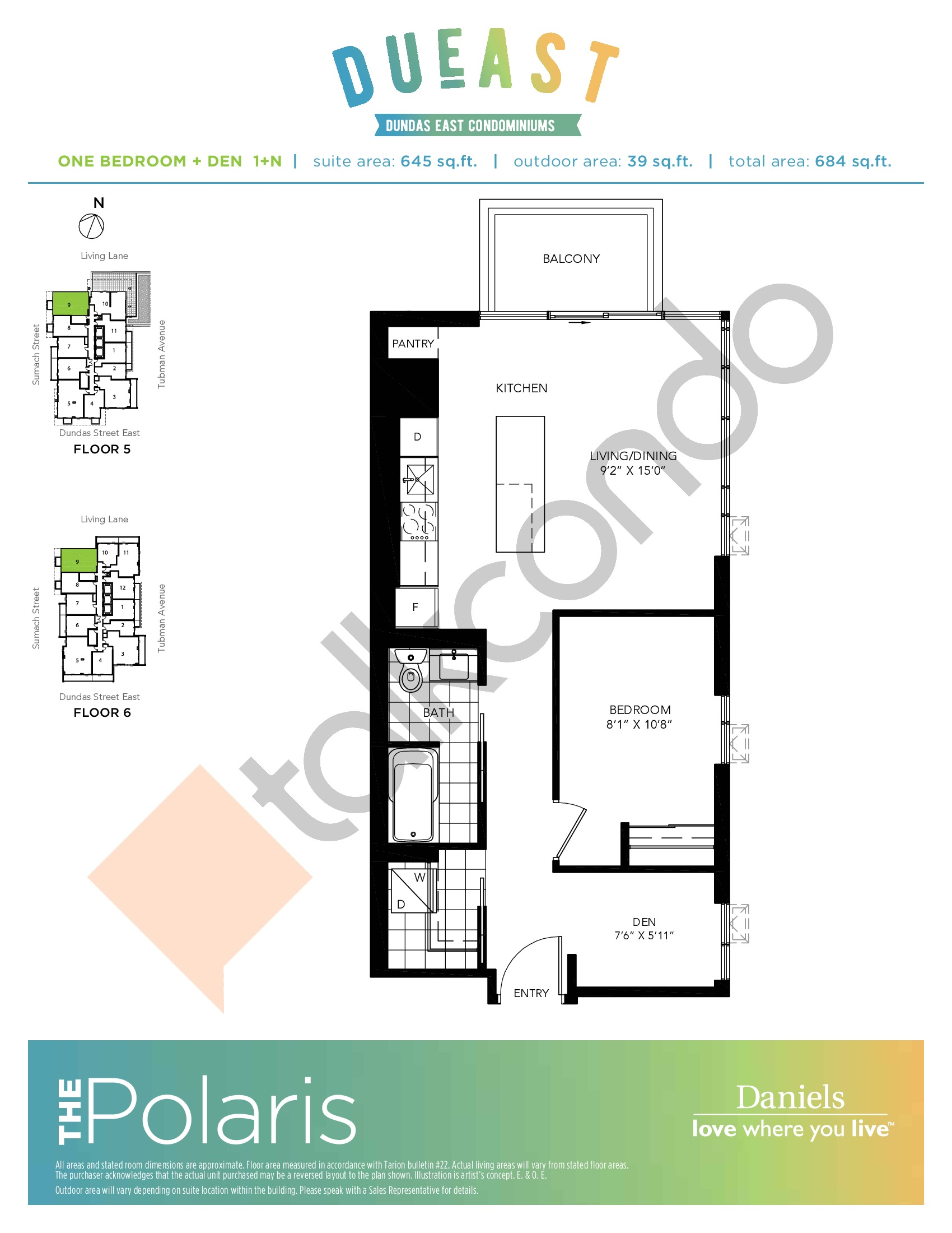 The Polaris (1+N) Floor Plan at DuEast Condos - 645 sq.ft