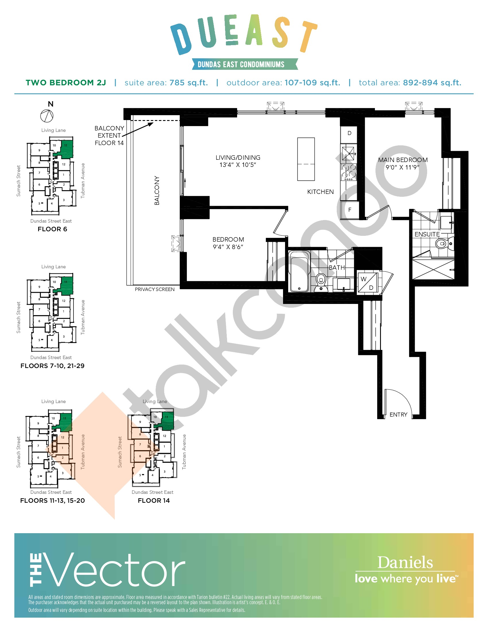 The Vector (2J) Floor Plan at DuEast Condos - 785 sq.ft
