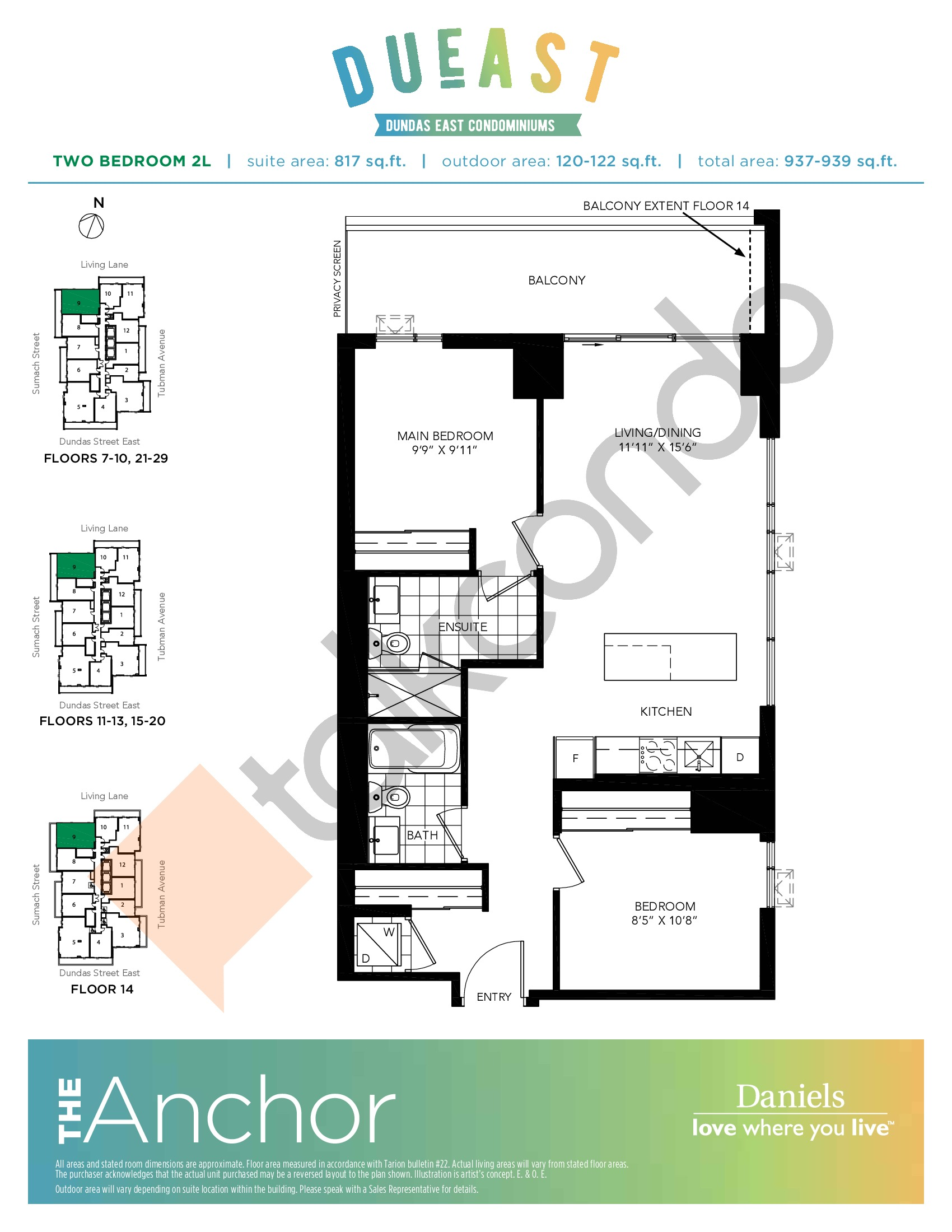 The Anchor (2L) Floor Plan at DuEast Condos - 817 sq.ft
