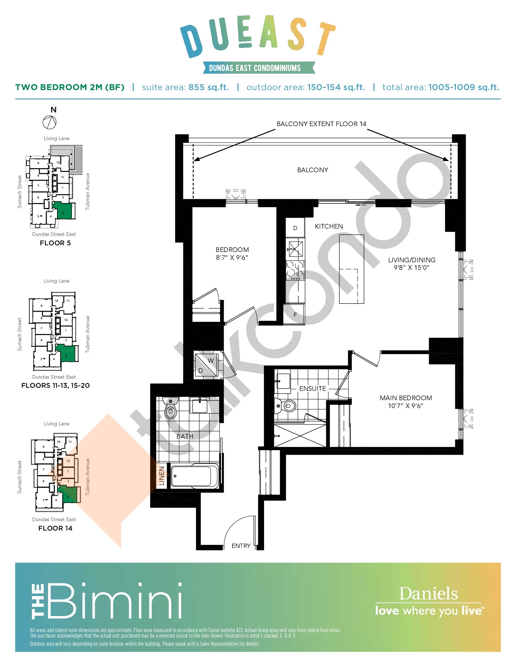 The Bimini 2M (BF) Floor Plan at DuEast Condos - 855 sq.ft
