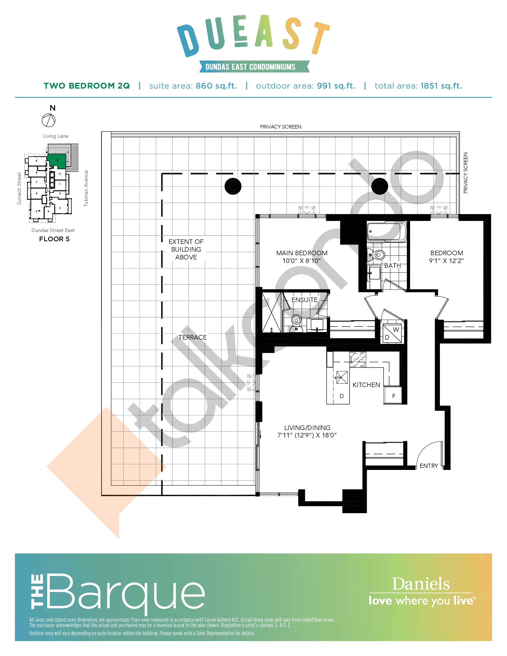 The Barque (2Q) Floor Plan at DuEast Condos - 860 sq.ft