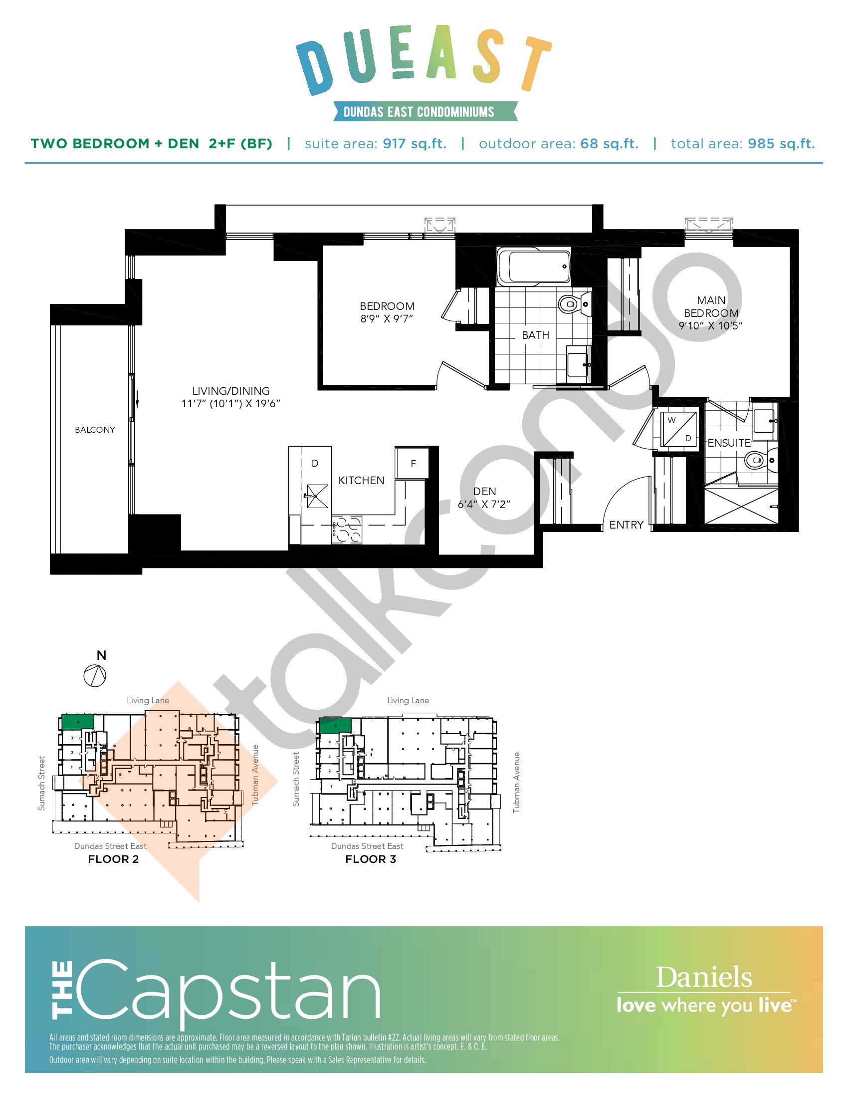 The Capstan 2+F (BF) Floor Plan at DuEast Condos - 917 sq.ft