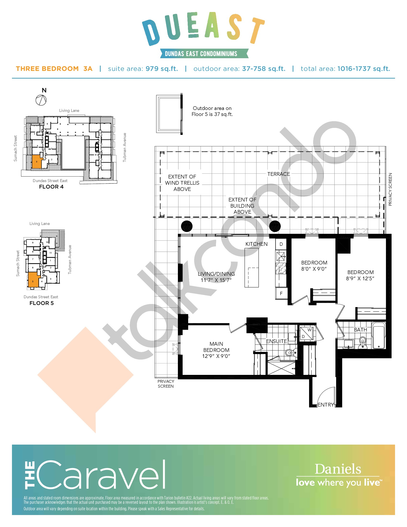 The Caravel (3A) Floor Plan at DuEast Condos - 979 sq.ft