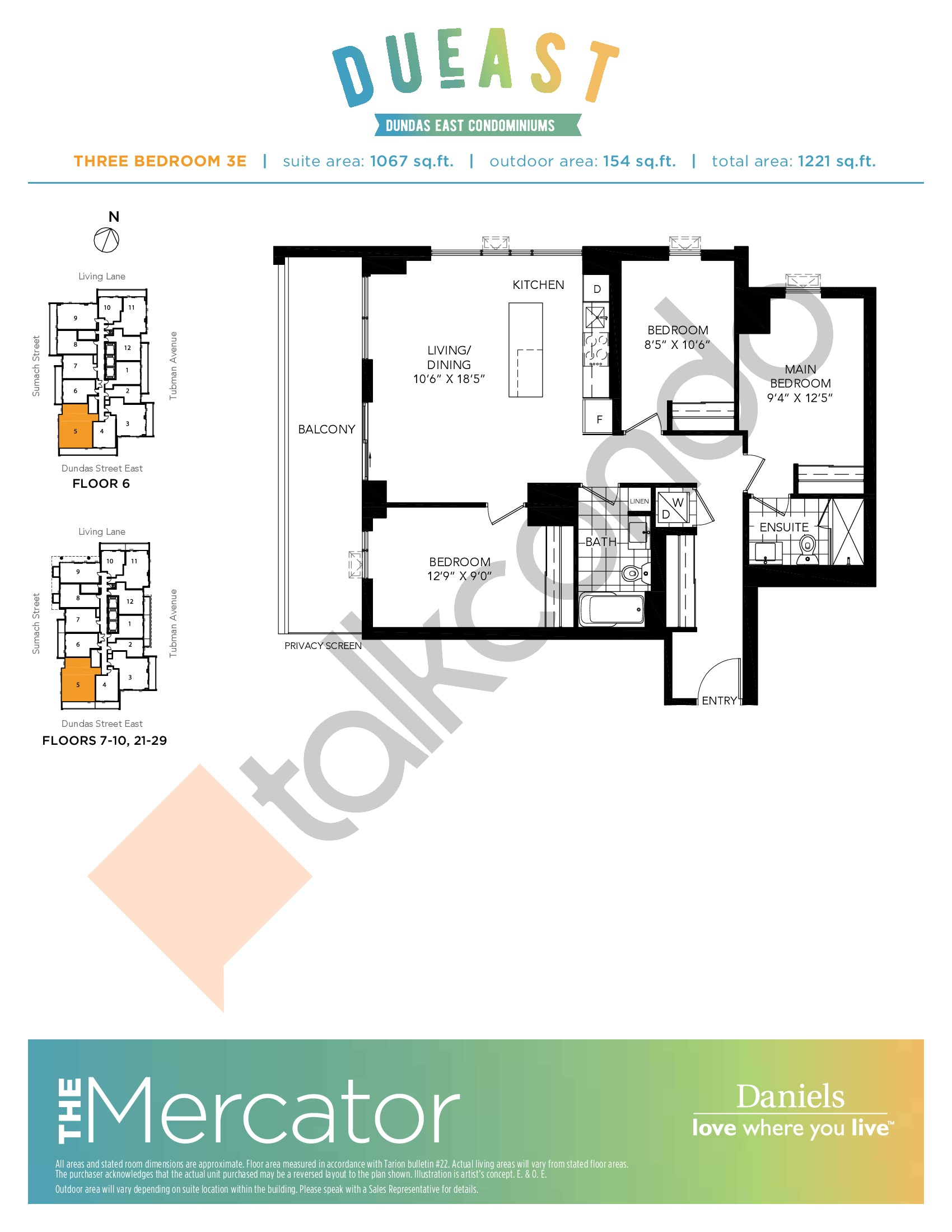The Mercator (3E) Floor Plan at DuEast Condos - 1067 sq.ft