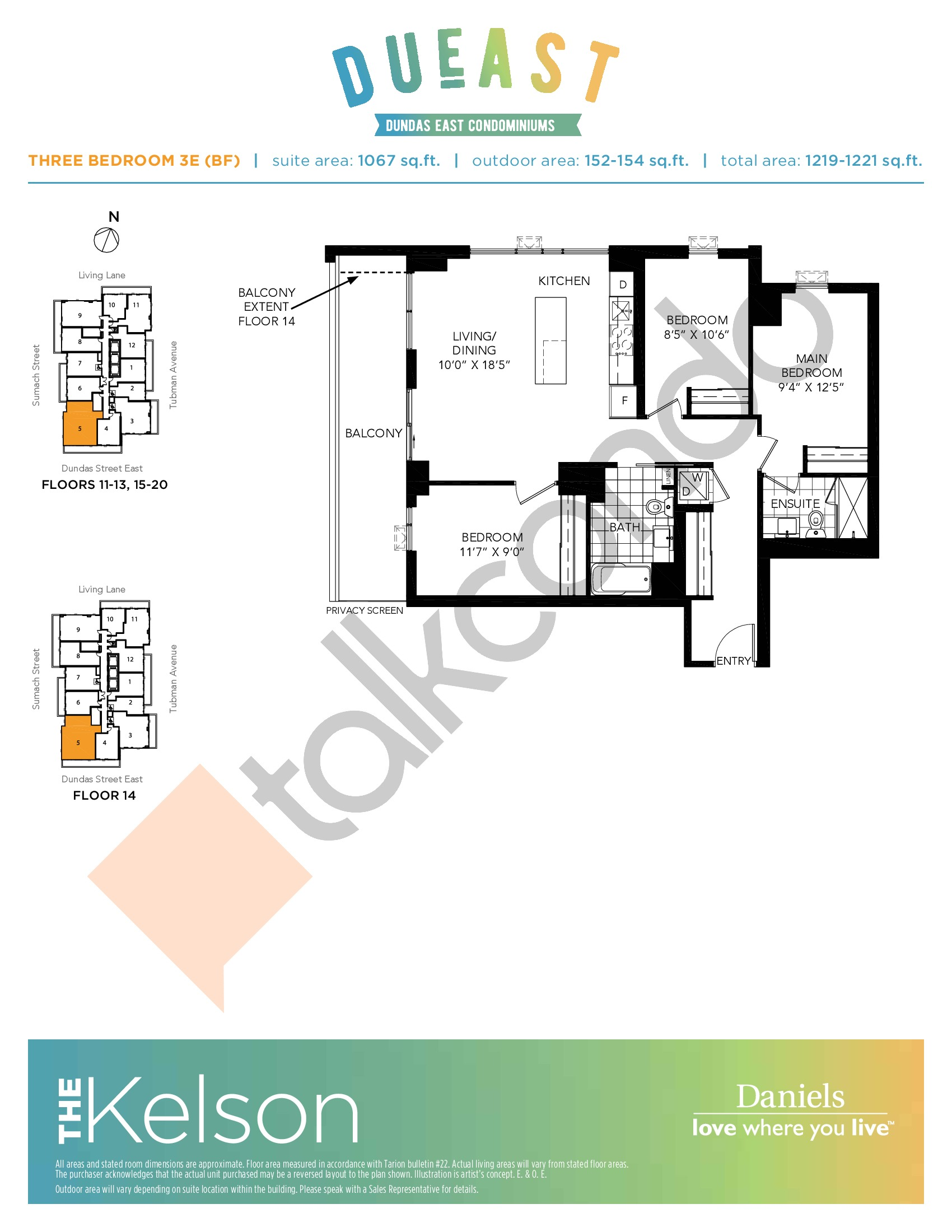 The Kelson 3E (BF) Floor Plan at DuEast Condos - 1067 sq.ft