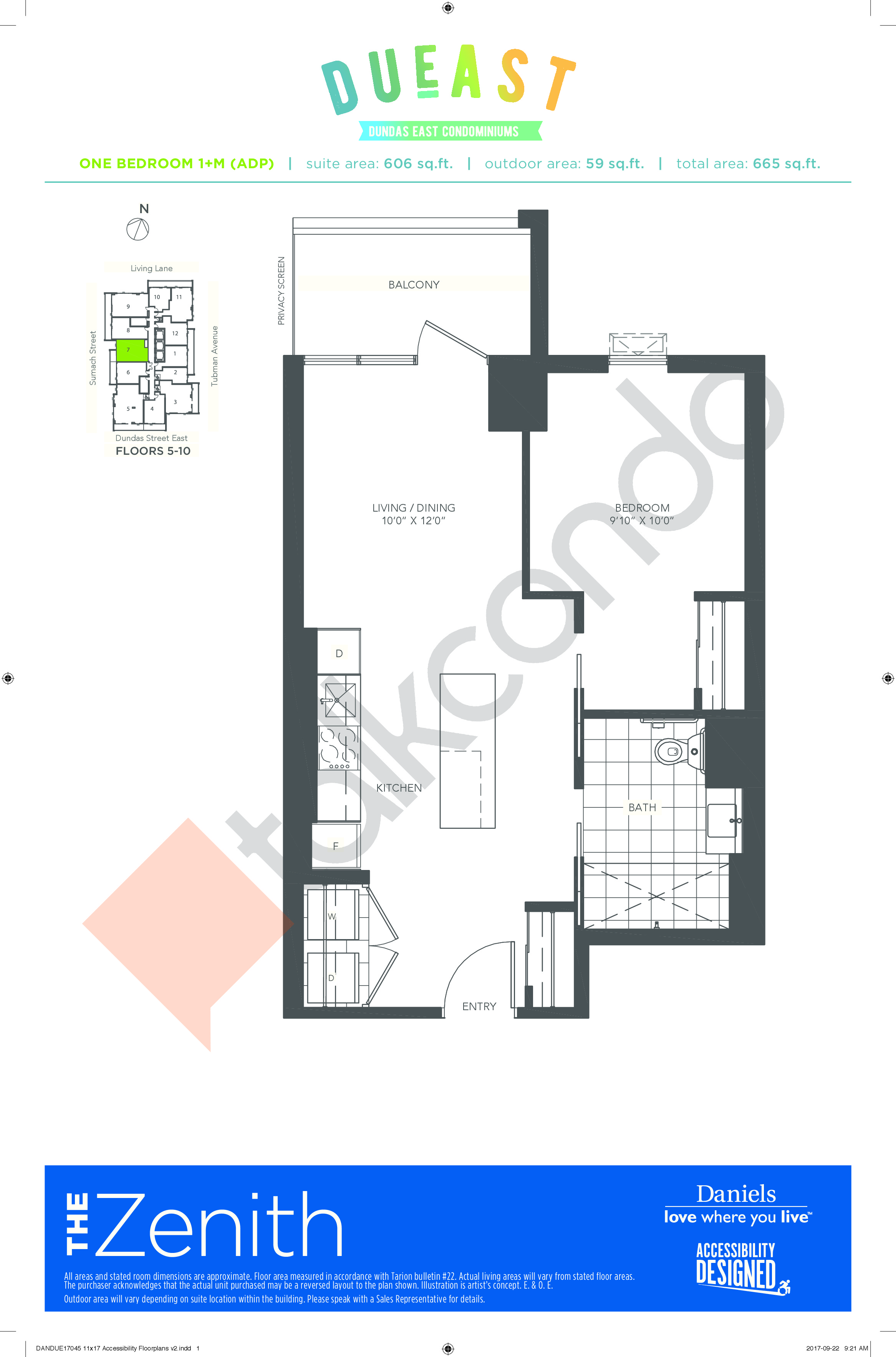 The Zenith 1+M (ADP) Floor Plan at DuEast Condos - 606 sq.ft