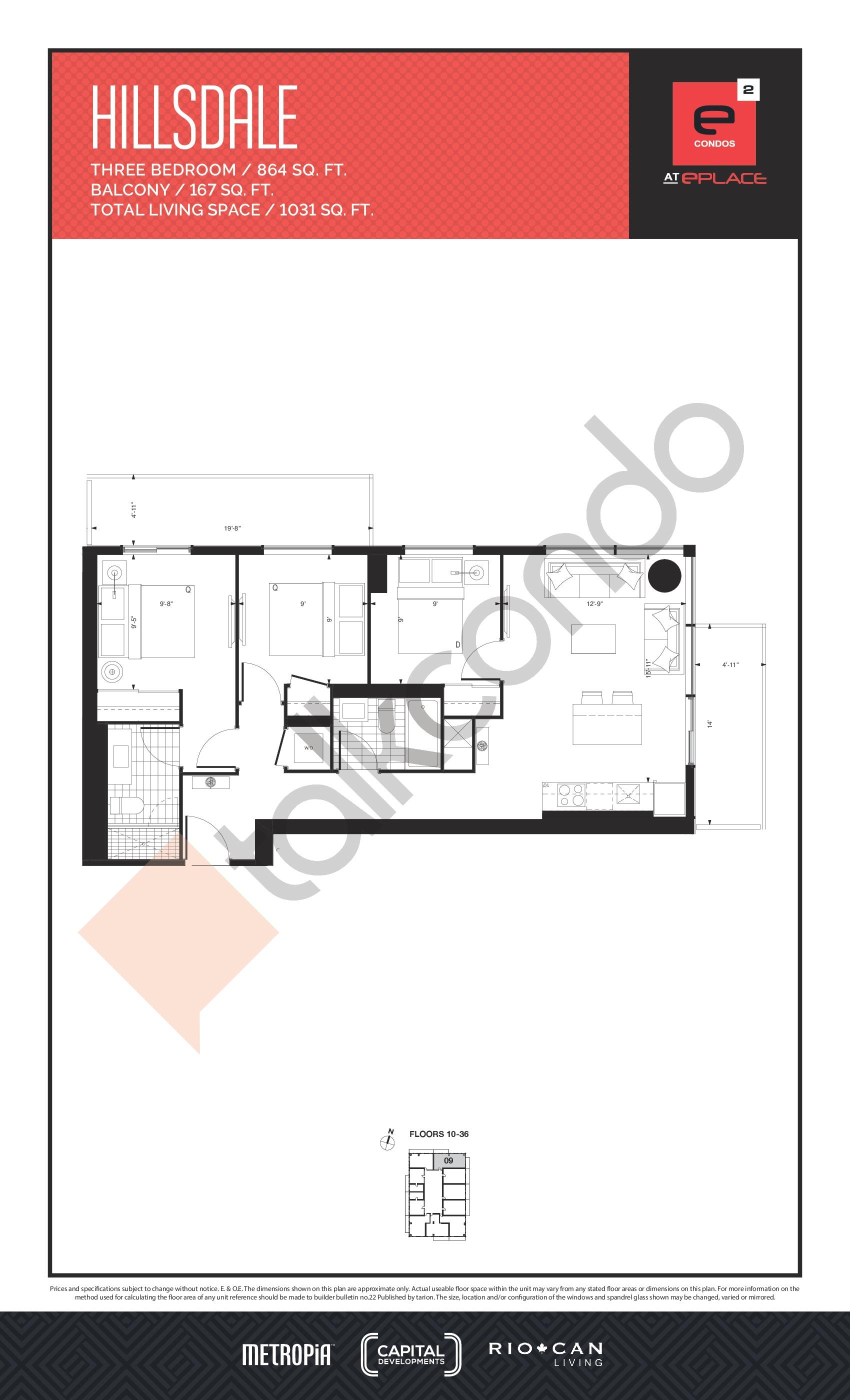 Hillsdale Floor Plan at E2 Condos - 864 sq.ft
