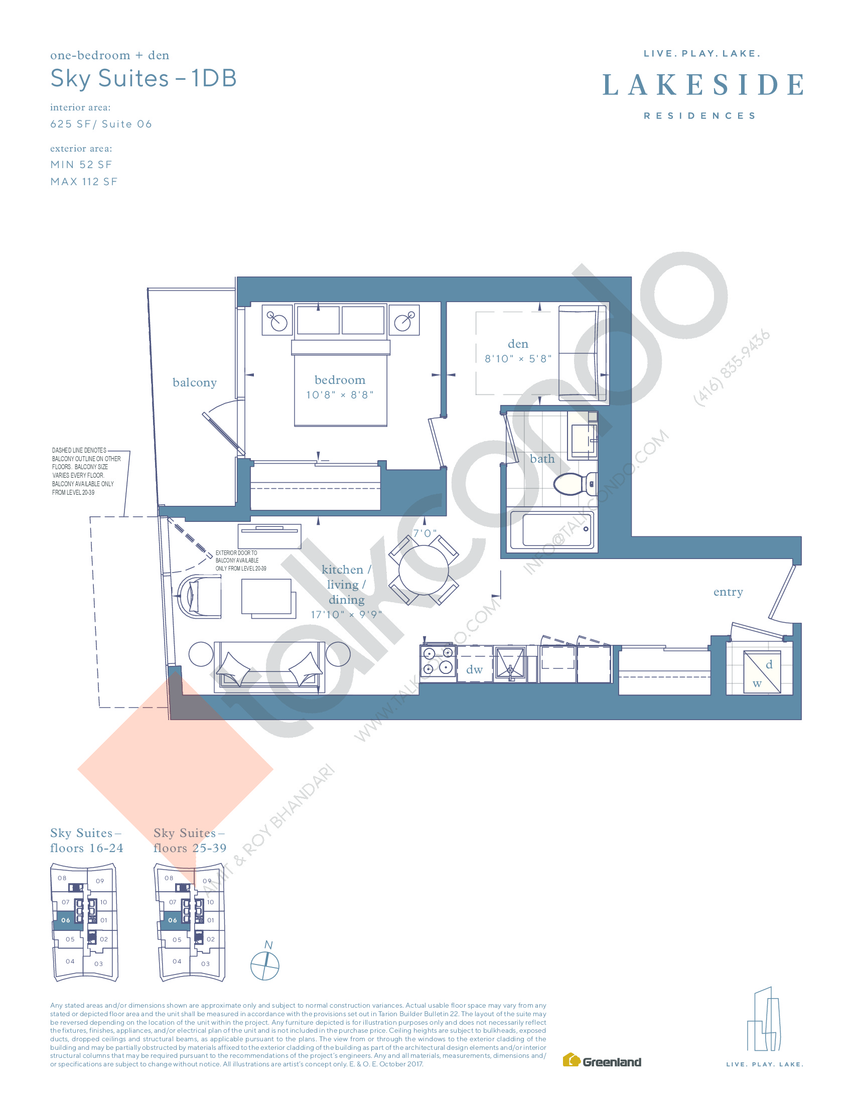 Sky Suites - 1DB Floor Plan at Lakeside Residences - 625 sq.ft