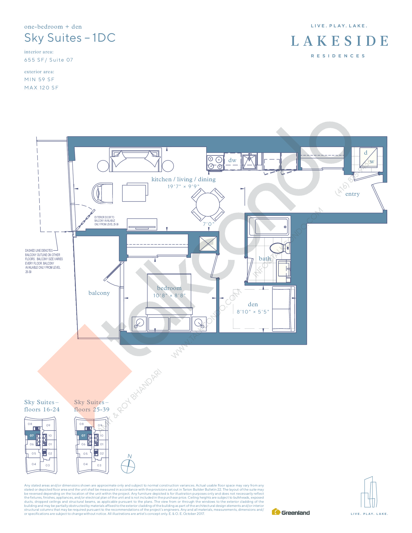 Sky Suites - 1DC Floor Plan at Lakeside Residences - 655 sq.ft