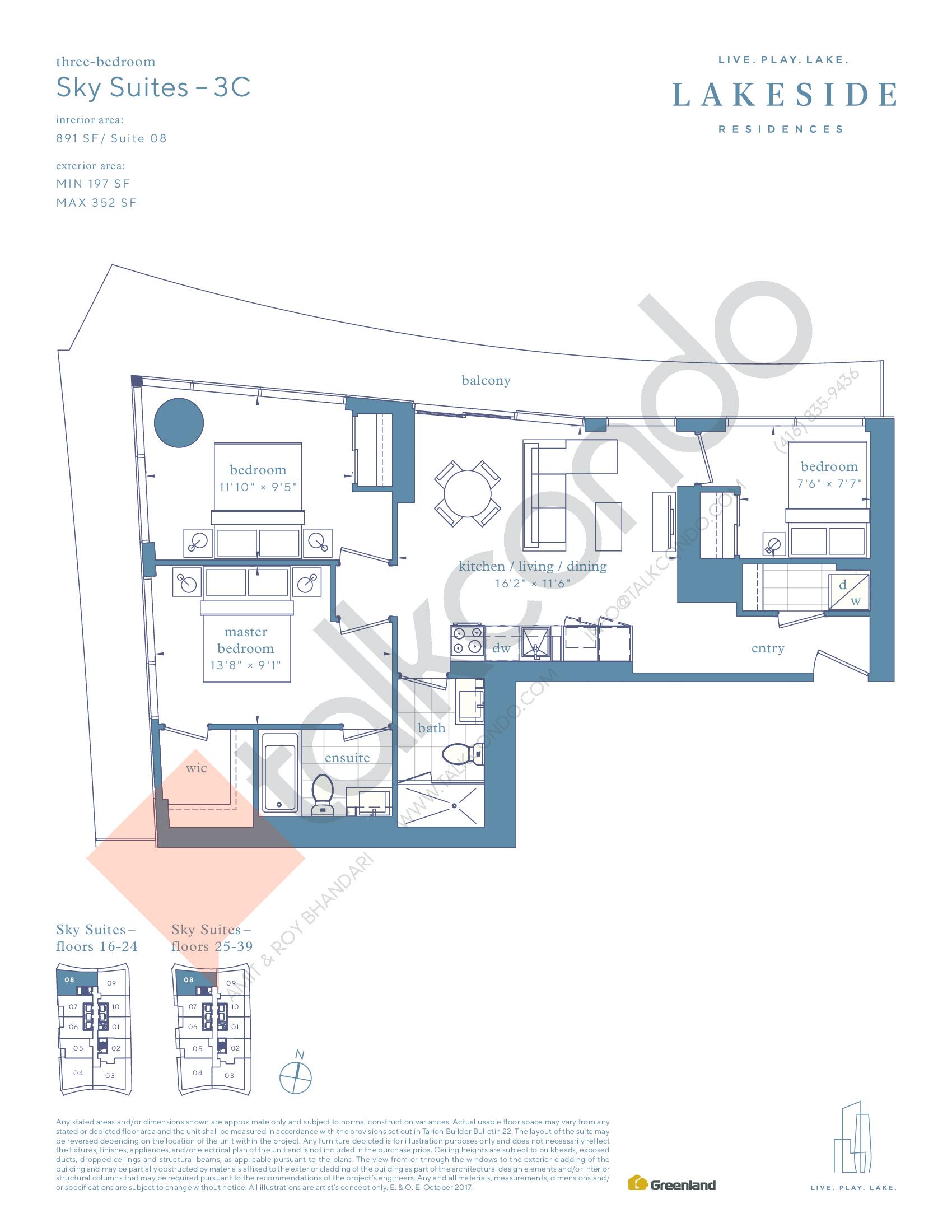 Sky Suites - 3C Floor Plan at Lakeside Residences - 891 sq.ft