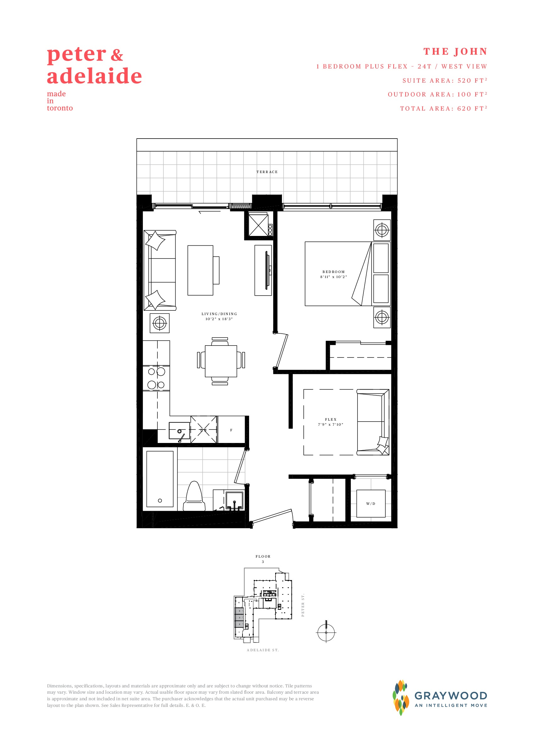 The John Floor Plan at Peter & Adelaide Condos - 520 sq.ft