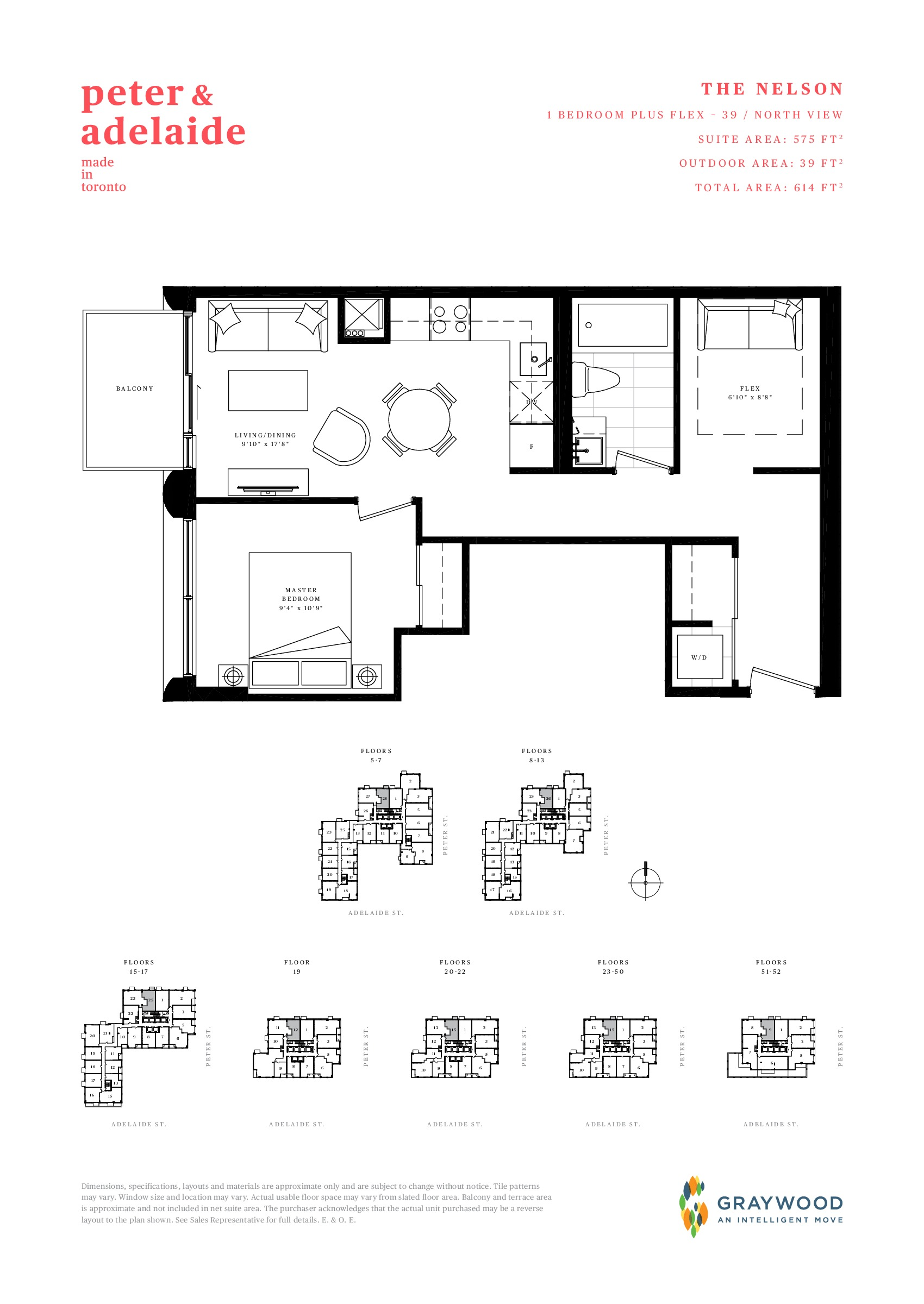 The Nelson Floor Plan at Peter & Adelaide Condos - 575 sq.ft