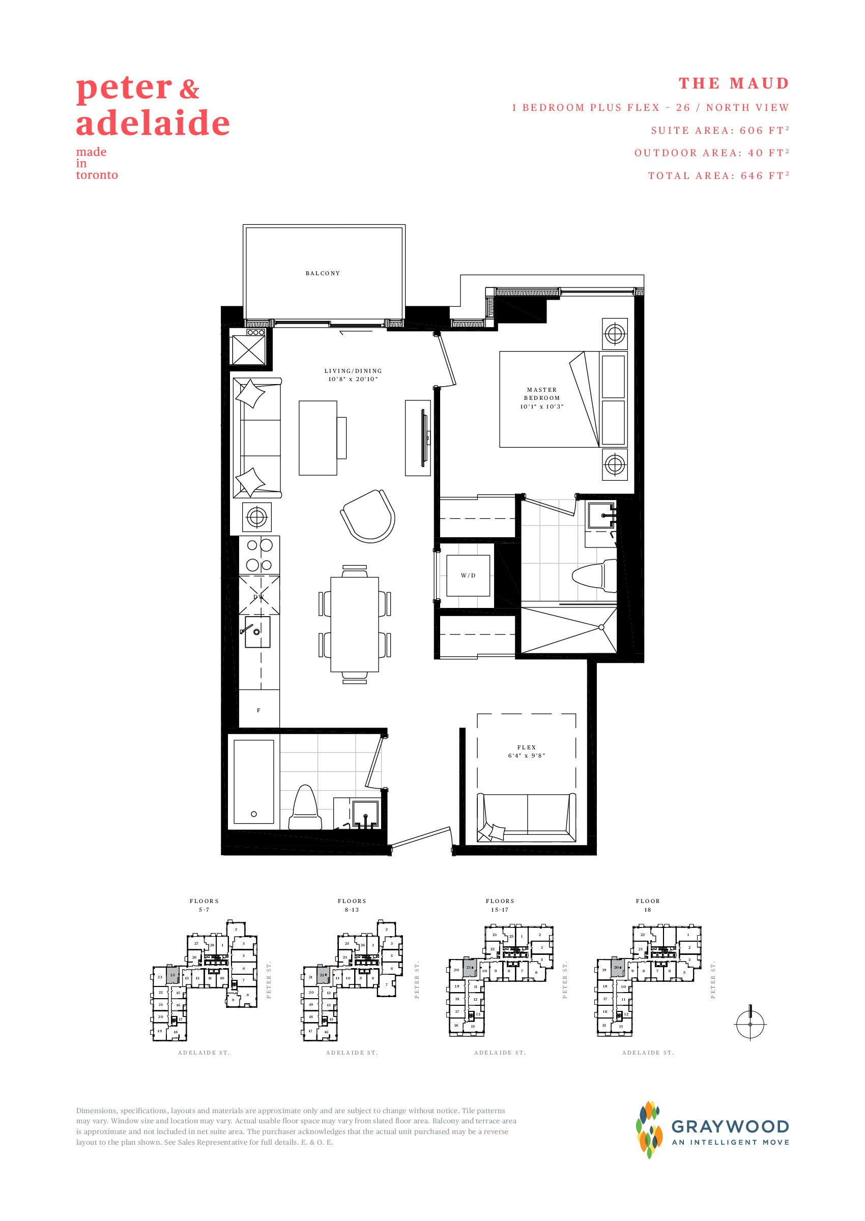 The Maud Floor Plan at Peter & Adelaide Condos - 606 sq.ft