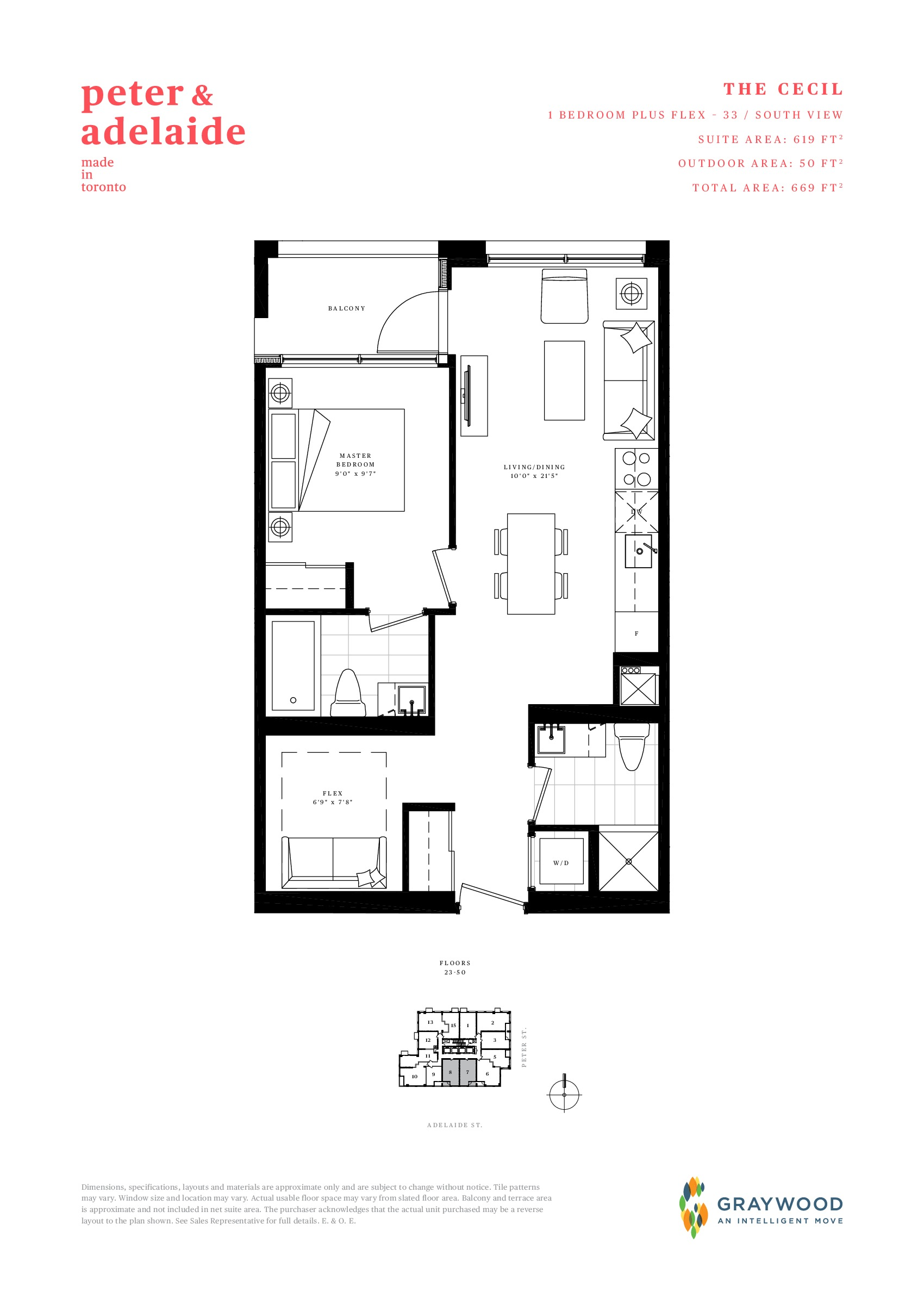 The Cecil Floor Plan at Peter & Adelaide Condos - 619 sq.ft
