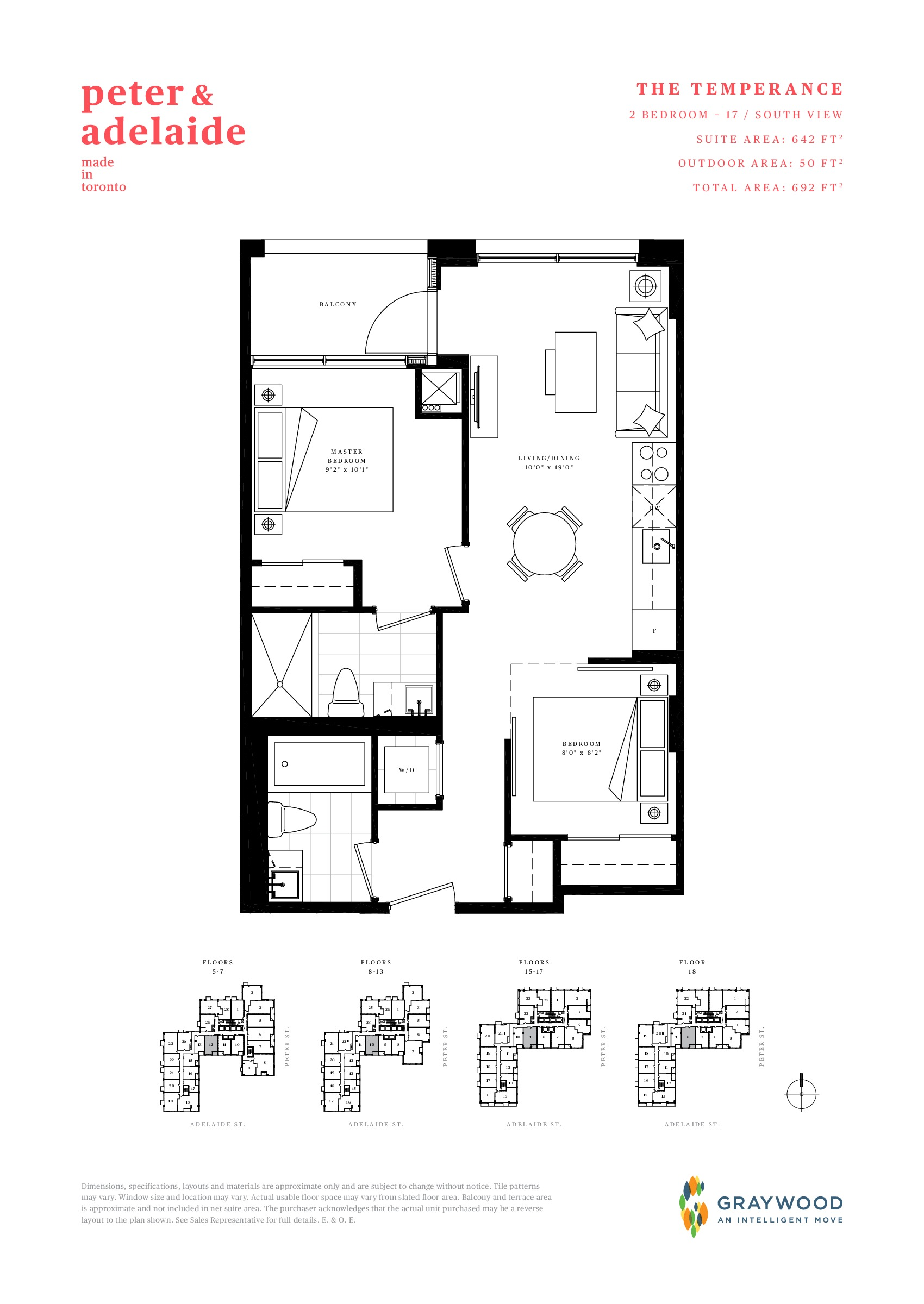 The Temperance Floor Plan at Peter & Adelaide Condos - 642 sq.ft