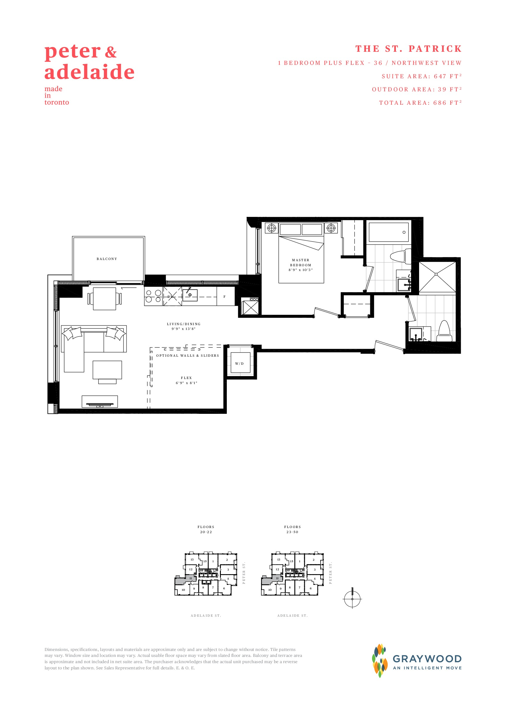 The St. Patrick Floor Plan at Peter & Adelaide Condos - 647 sq.ft