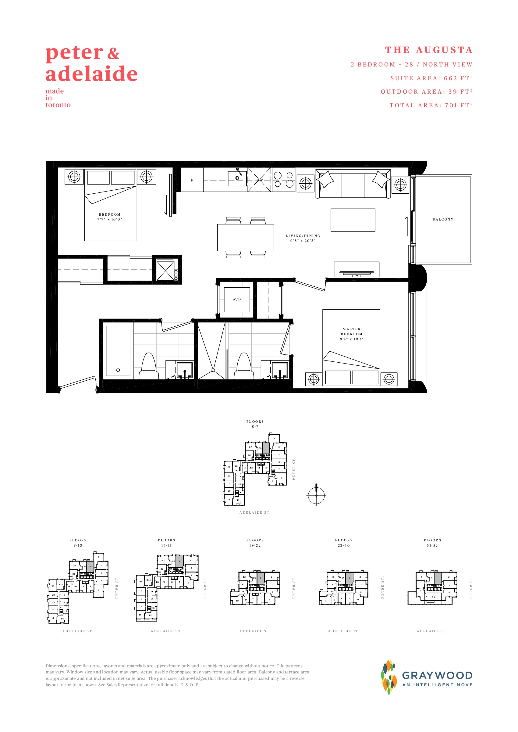 The Augusta Floor Plan at Peter & Adelaide Condos - 662 sq.ft