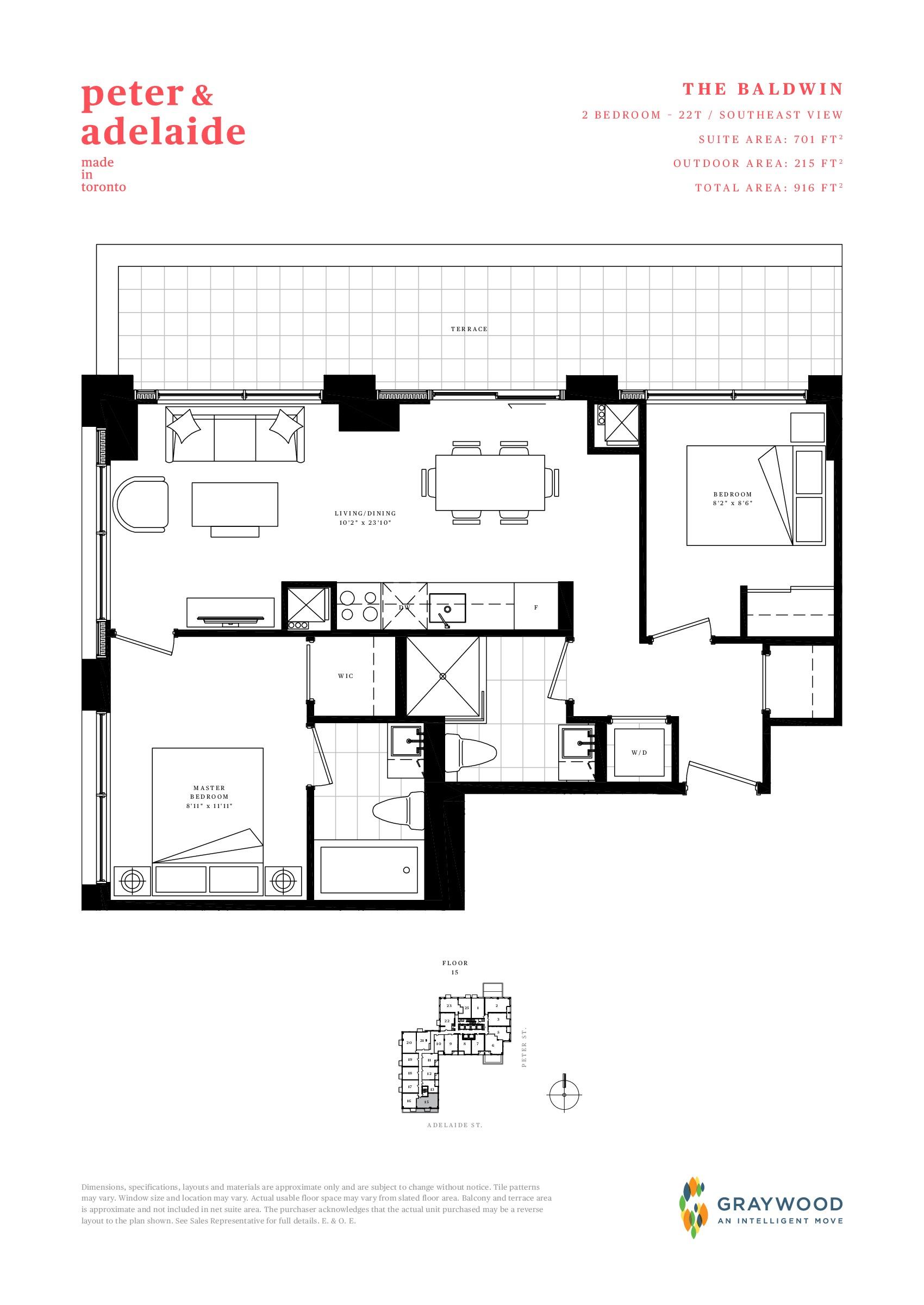 The Baldwin Floor Plan at Peter & Adelaide Condos - 701 sq.ft