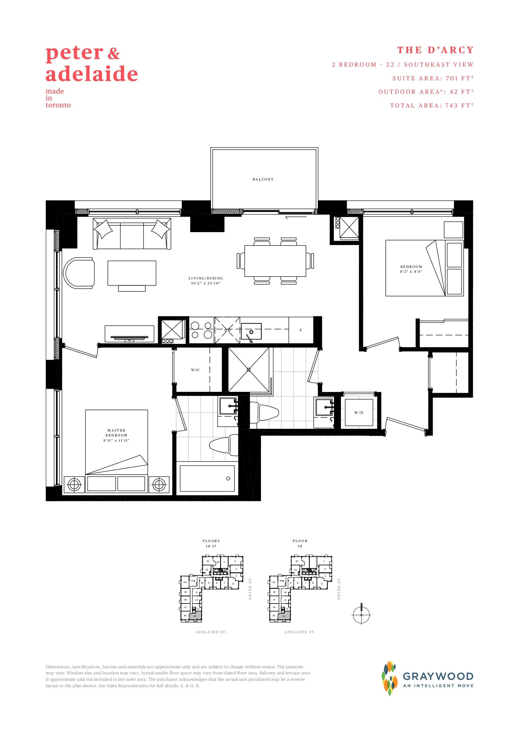 The D'Arcy Floor Plan at Peter & Adelaide Condos - 701 sq.ft